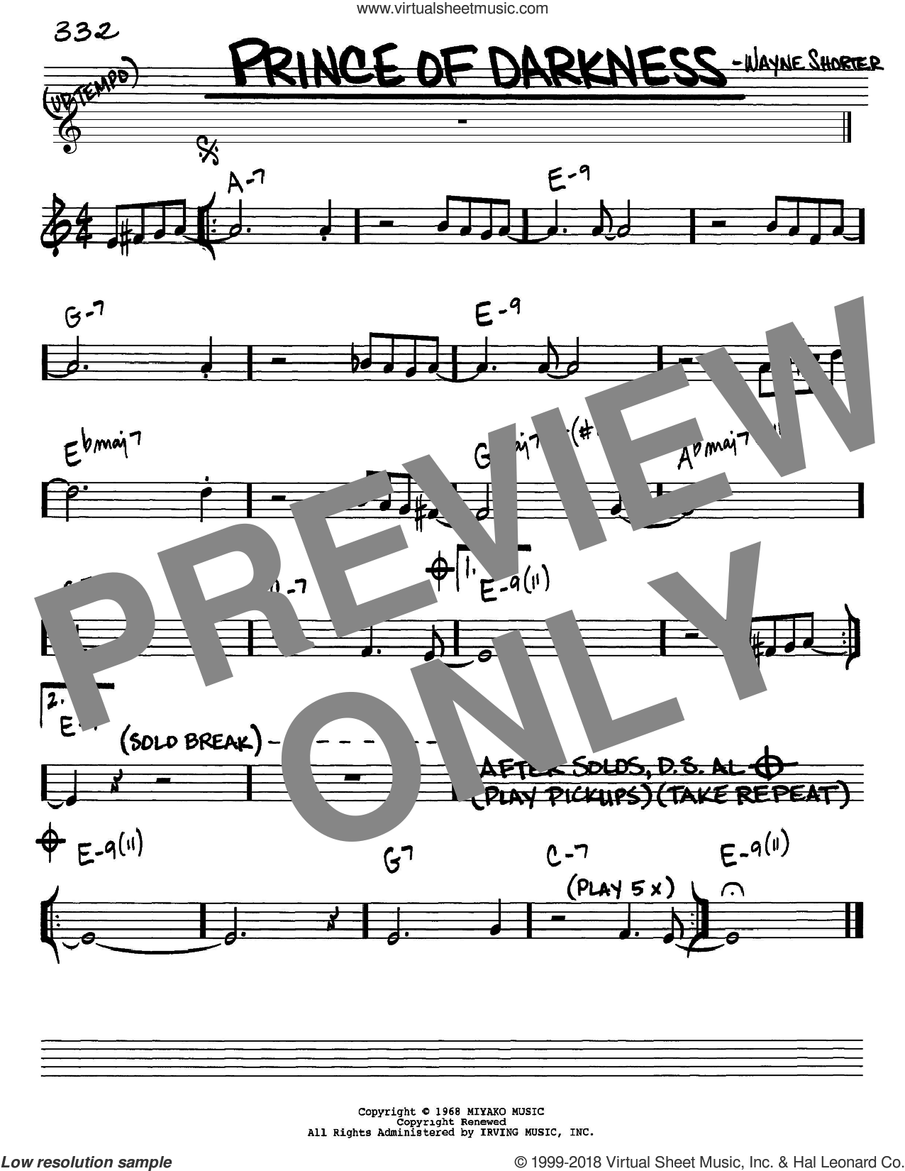 Prince Of Darkness sheet music for voice and other instruments (Eb) by Wayne Shorter. Score Image Preview.