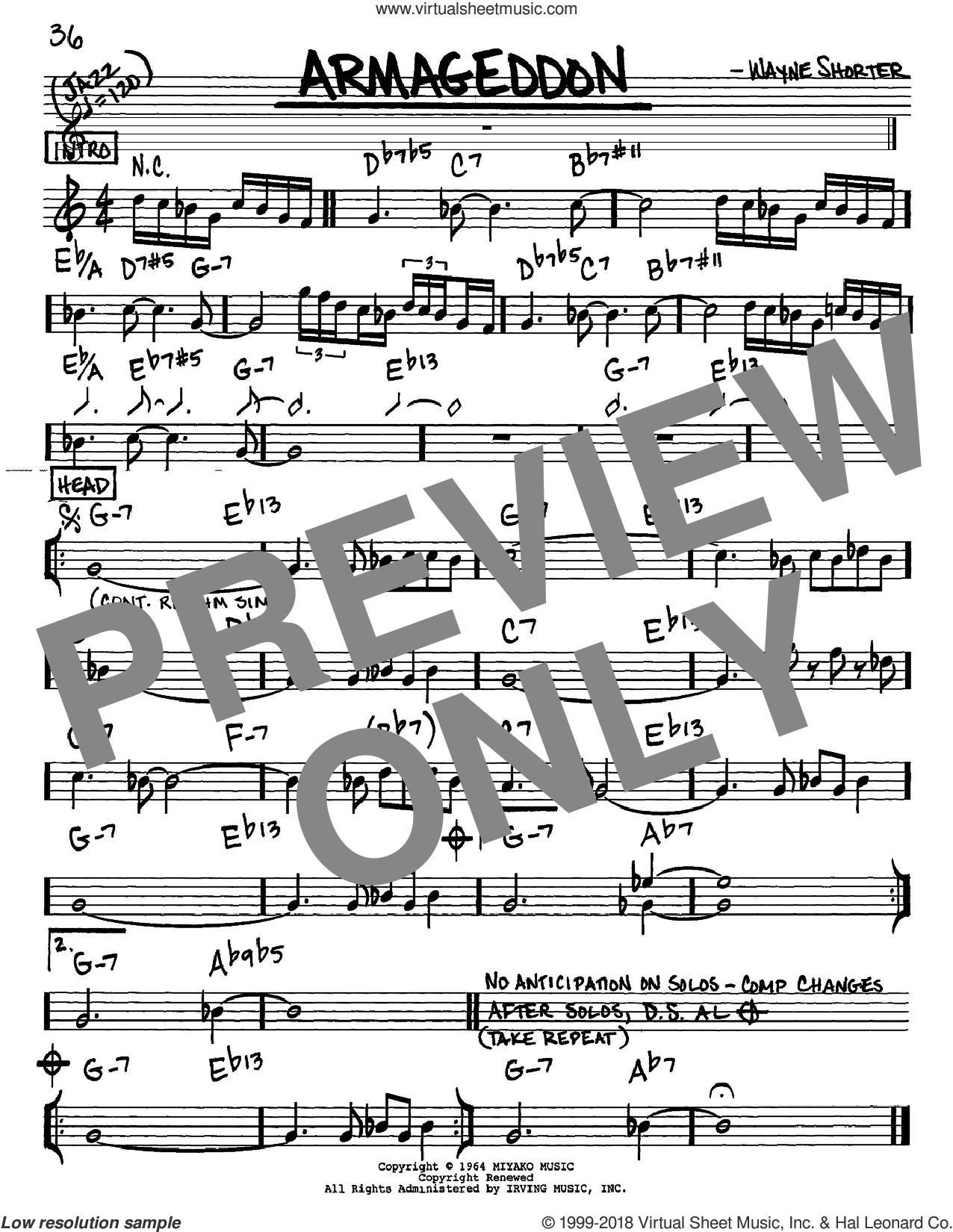 Armageddon sheet music for voice and other instruments (Eb) by Wayne Shorter. Score Image Preview.