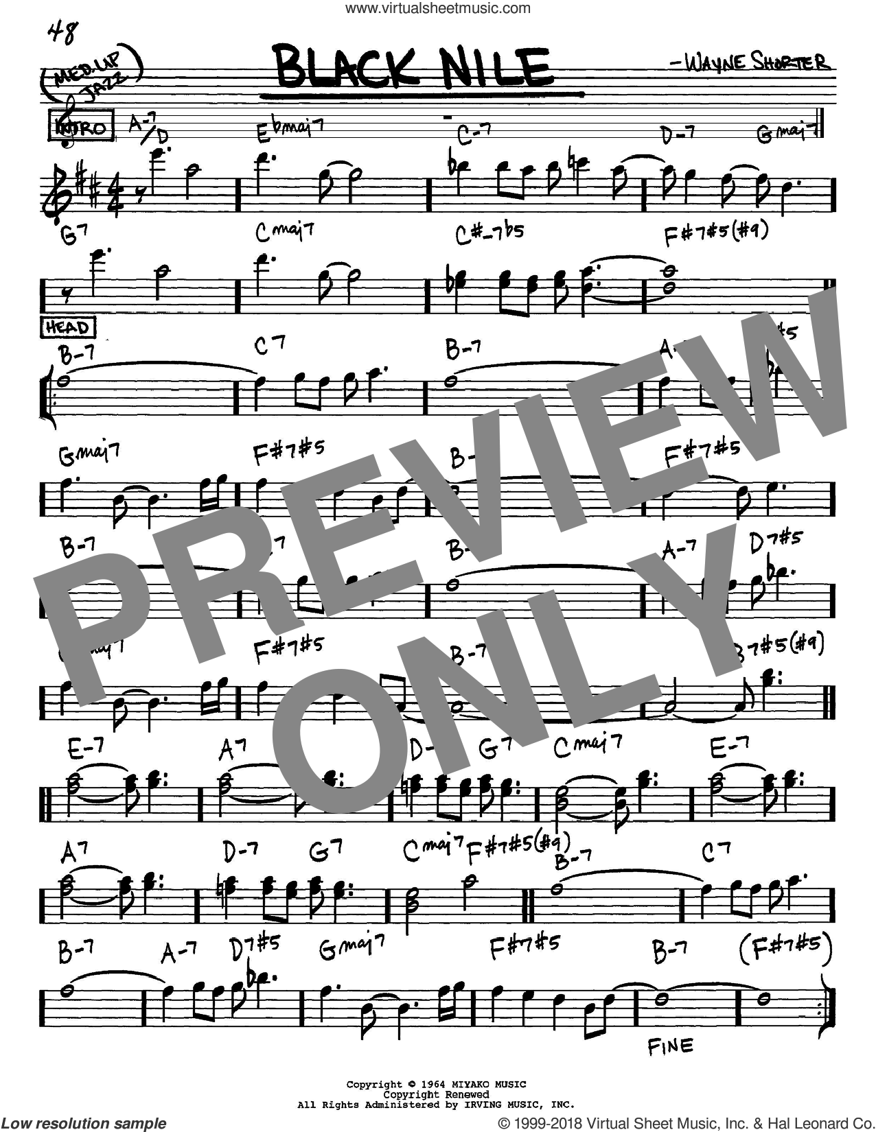 Black Nile sheet music for voice and other instruments (Eb) by Wayne Shorter. Score Image Preview.