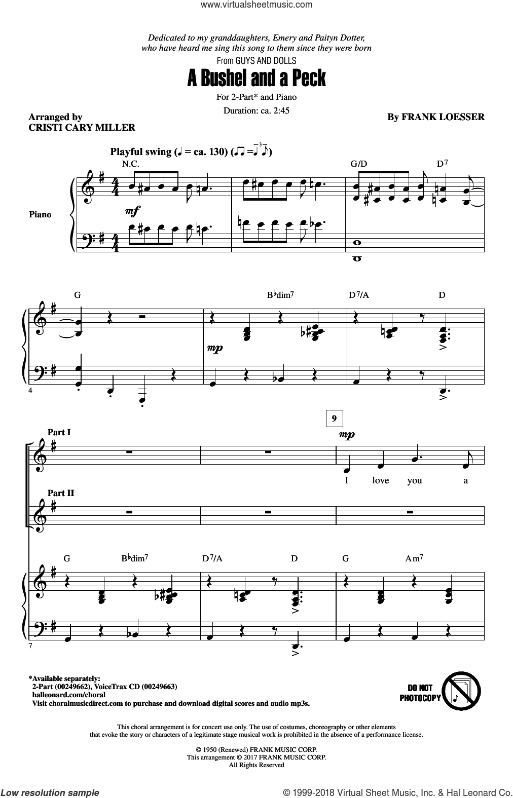 A Bushel And A Peck sheet music for choir (2-Part) by Frank Loesser and Cristi Cary Miller, intermediate duet
