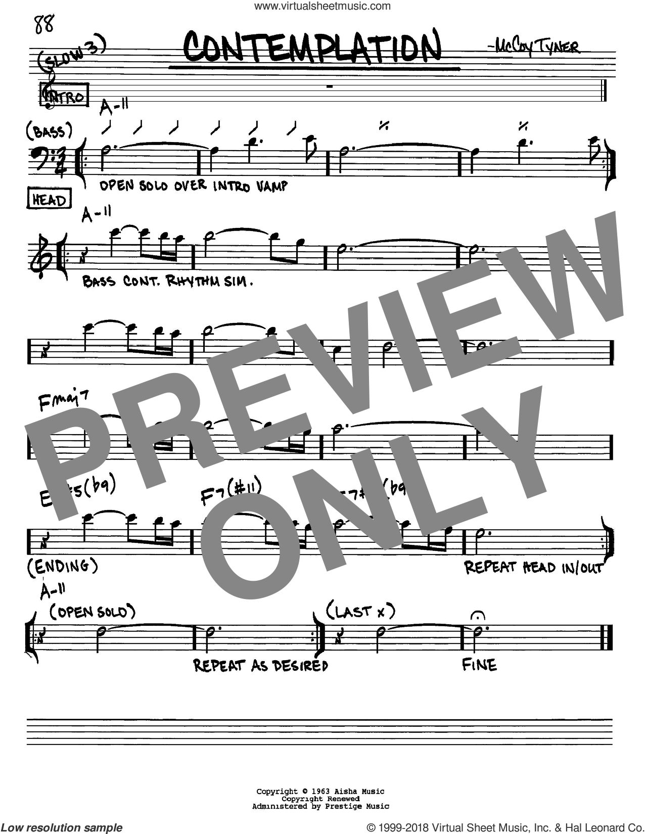 Contemplation sheet music for voice and other instruments (Eb) by McCoy Tyner. Score Image Preview.