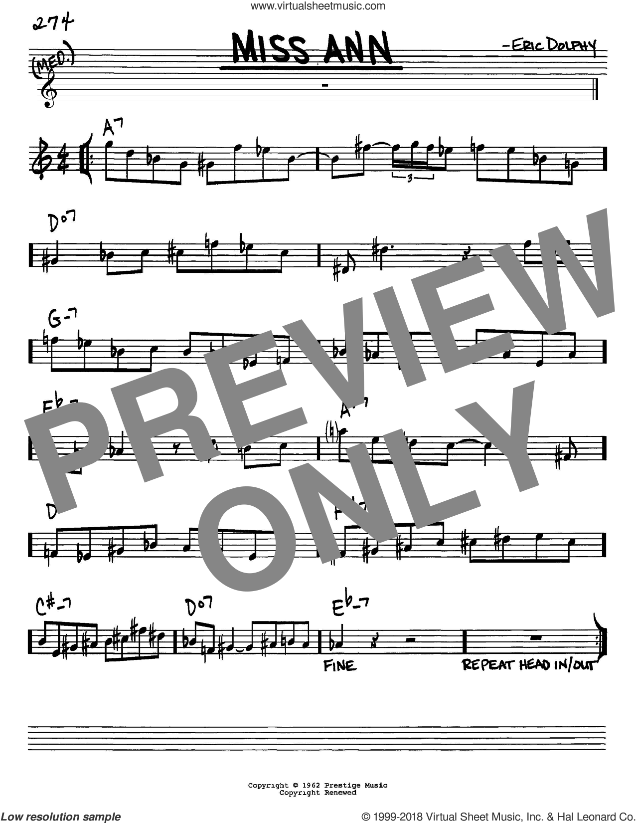 Miss Ann sheet music for voice and other instruments (in Eb) by Eric Dolphy, intermediate skill level