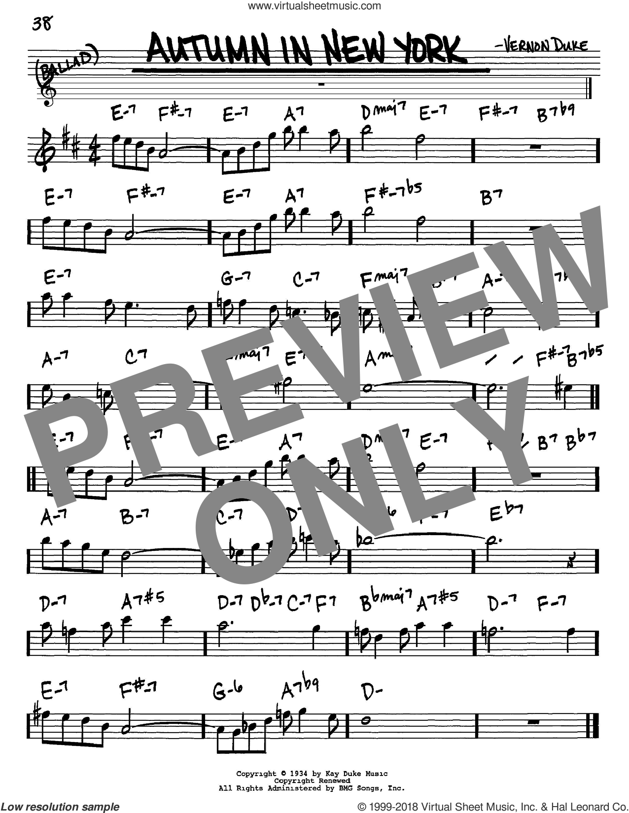 Autumn In New York sheet music for voice and other instruments (Eb) by Vernon Duke