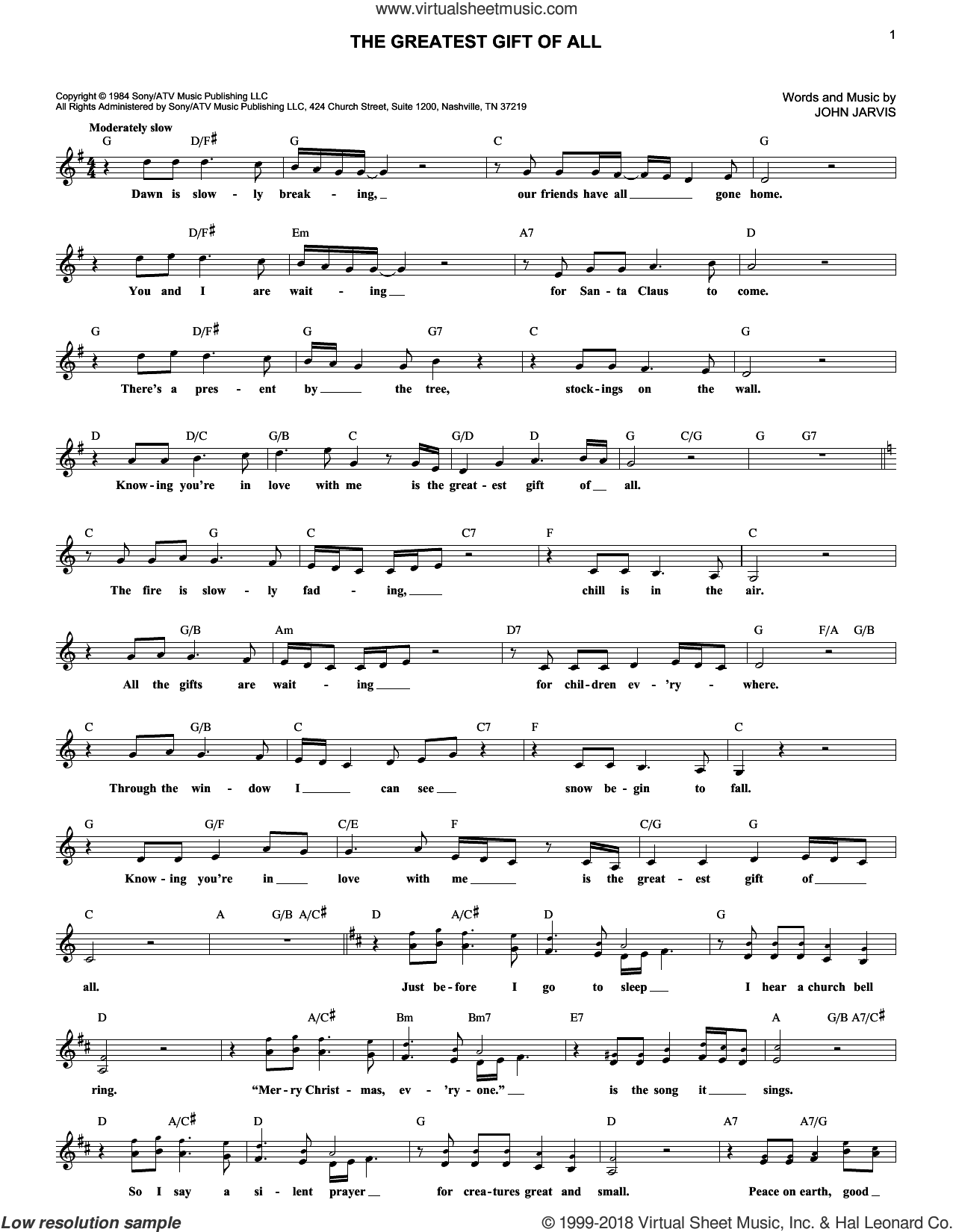 The Greatest Gift Of All sheet music for voice and other instruments (fake book) by Kenny Rogers and Dolly Parton and John Jarvis, intermediate. Score Image Preview.