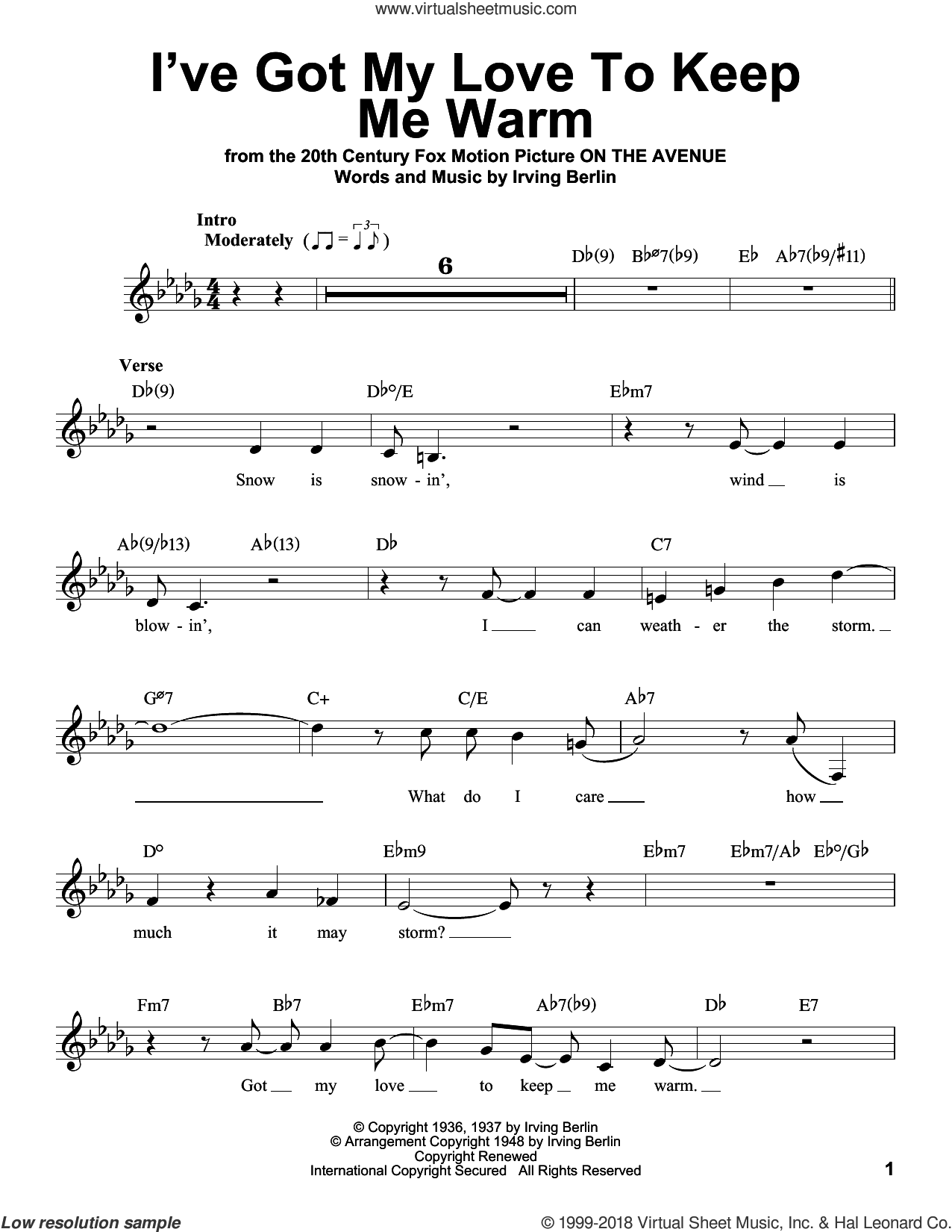I've Got My Love To Keep Me Warm sheet music for voice solo by Irving Berlin and Benny Goodman, intermediate skill level
