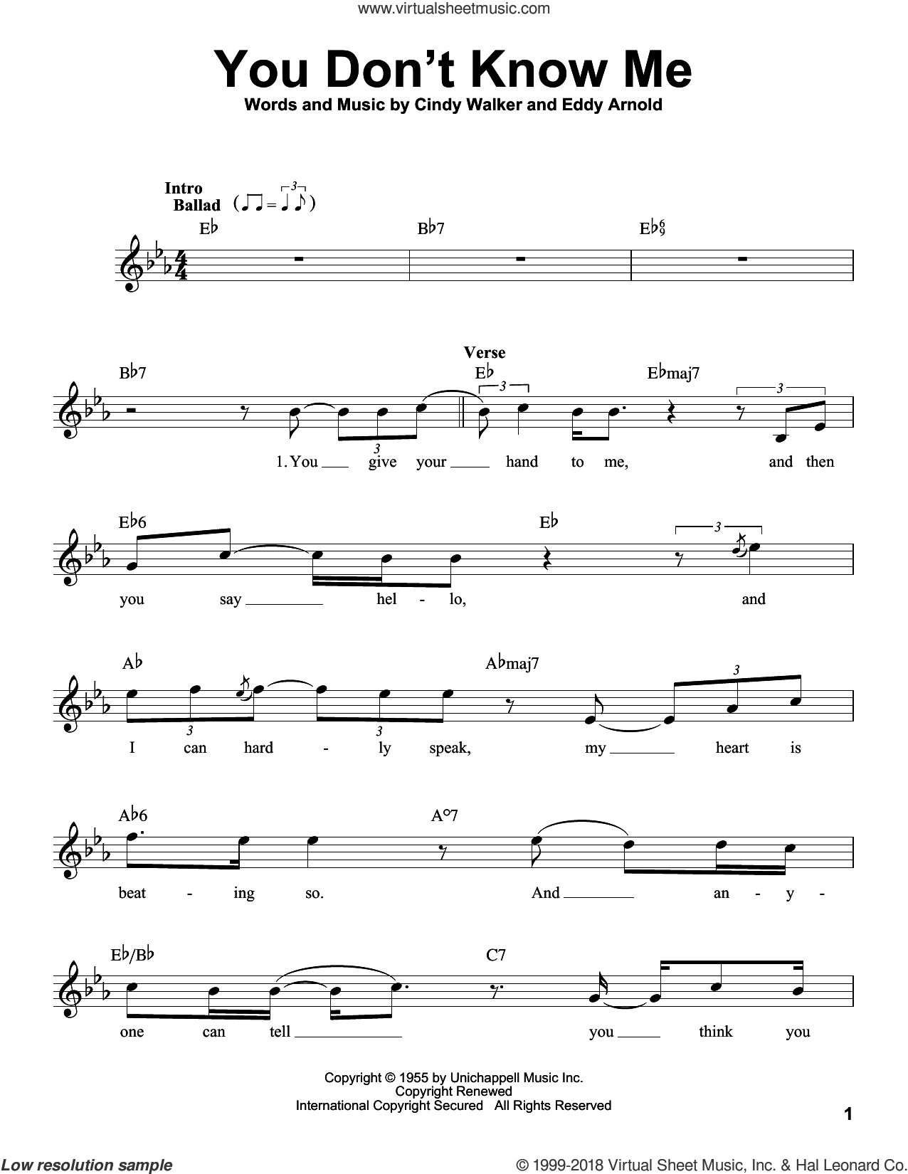 You Don't Know Me sheet music for voice solo by Ray Charles and Cindy Walker, intermediate skill level