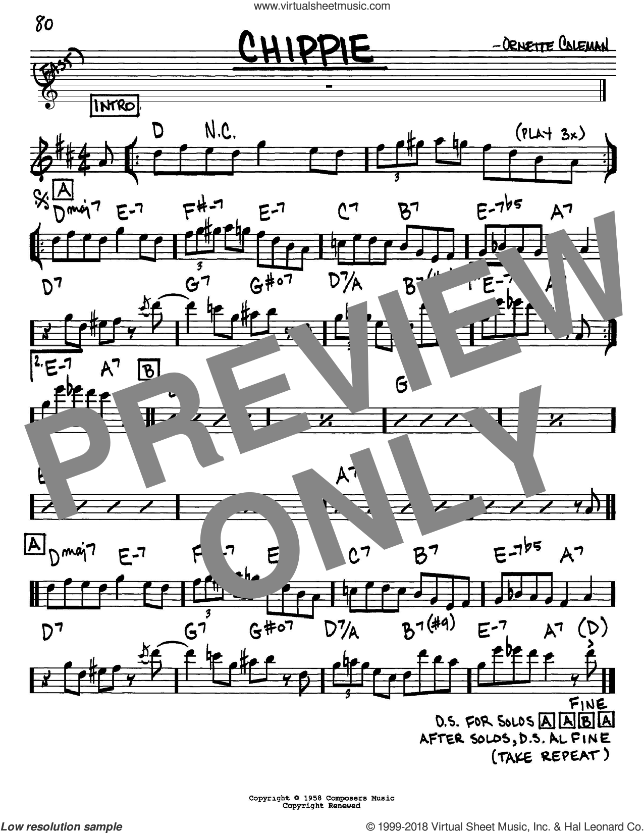 Chippie sheet music for voice and other instruments (in Eb) by Ornette Coleman, intermediate. Score Image Preview.