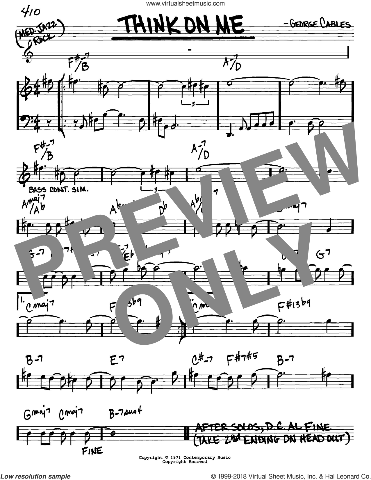 Think On Me sheet music for voice and other instruments (Eb) by George Cables. Score Image Preview.