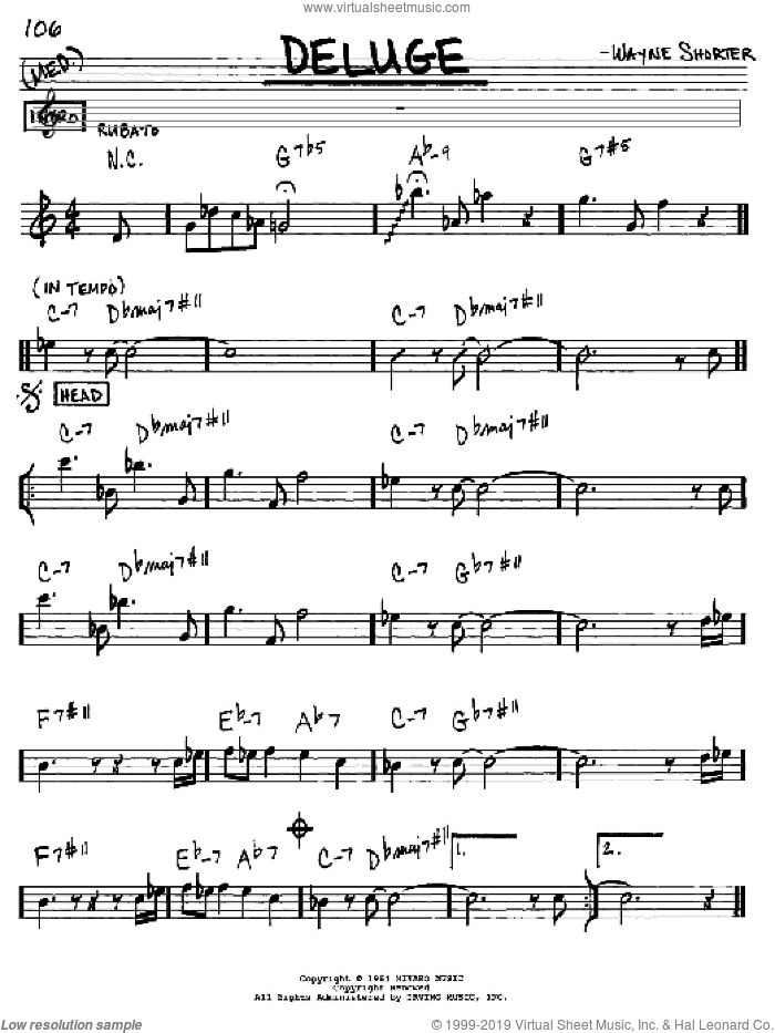 Deluge sheet music for voice and other instruments (Eb) by Wayne Shorter. Score Image Preview.