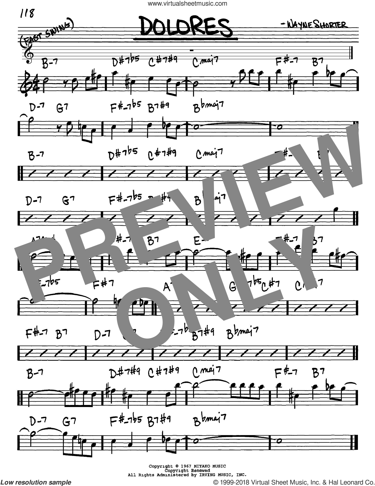 Dolores sheet music for voice and other instruments (Eb) by Wayne Shorter. Score Image Preview.