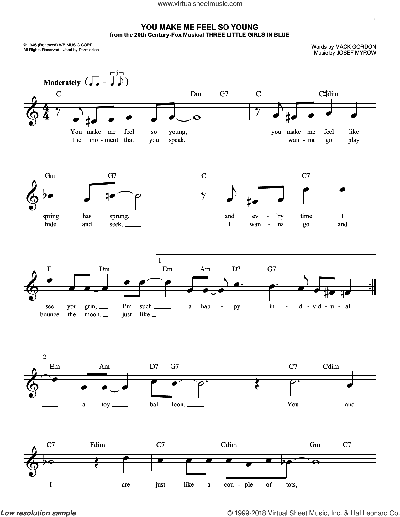 You Make Me Feel So Young sheet music for voice and other instruments (fake book) by Frank Sinatra, Josef Myrow and Mack Gordon, intermediate skill level
