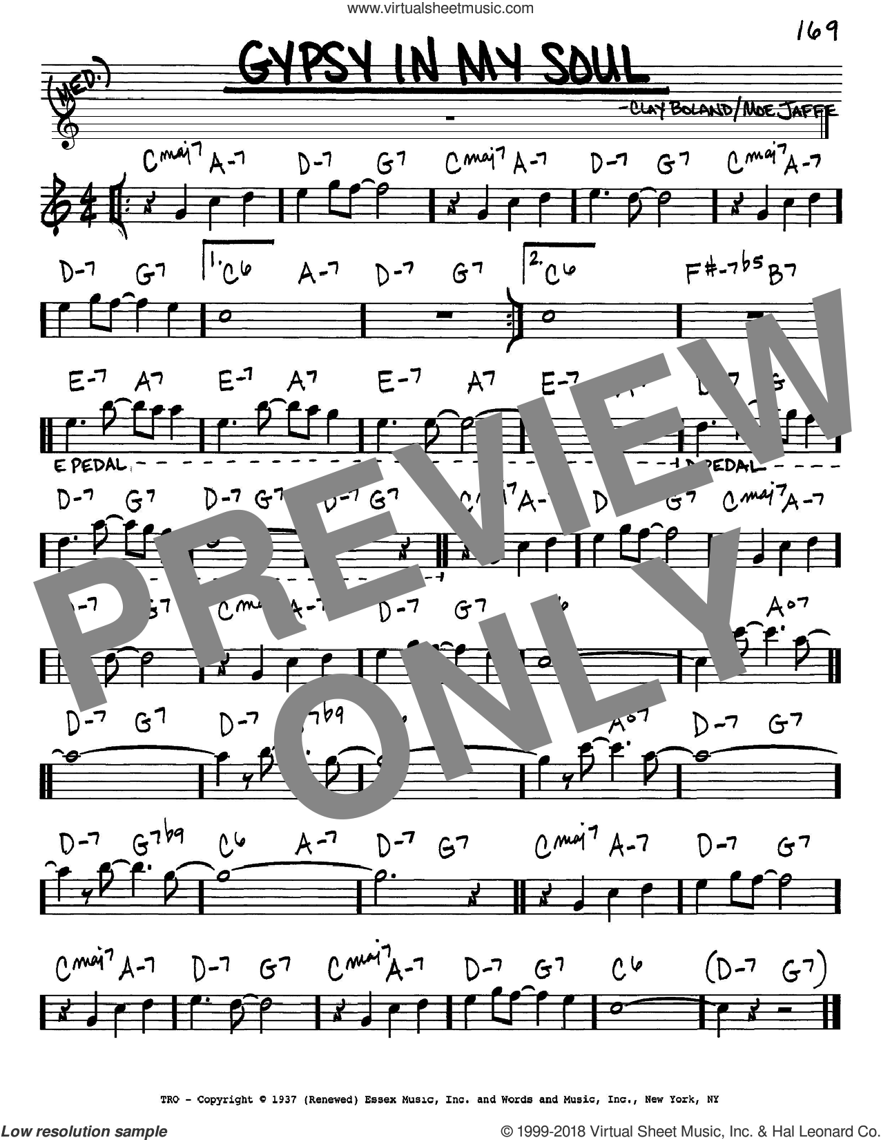Gypsy In My Soul sheet music for voice and other instruments (in Eb) by Moe Jaffe and Clay Boland, intermediate skill level