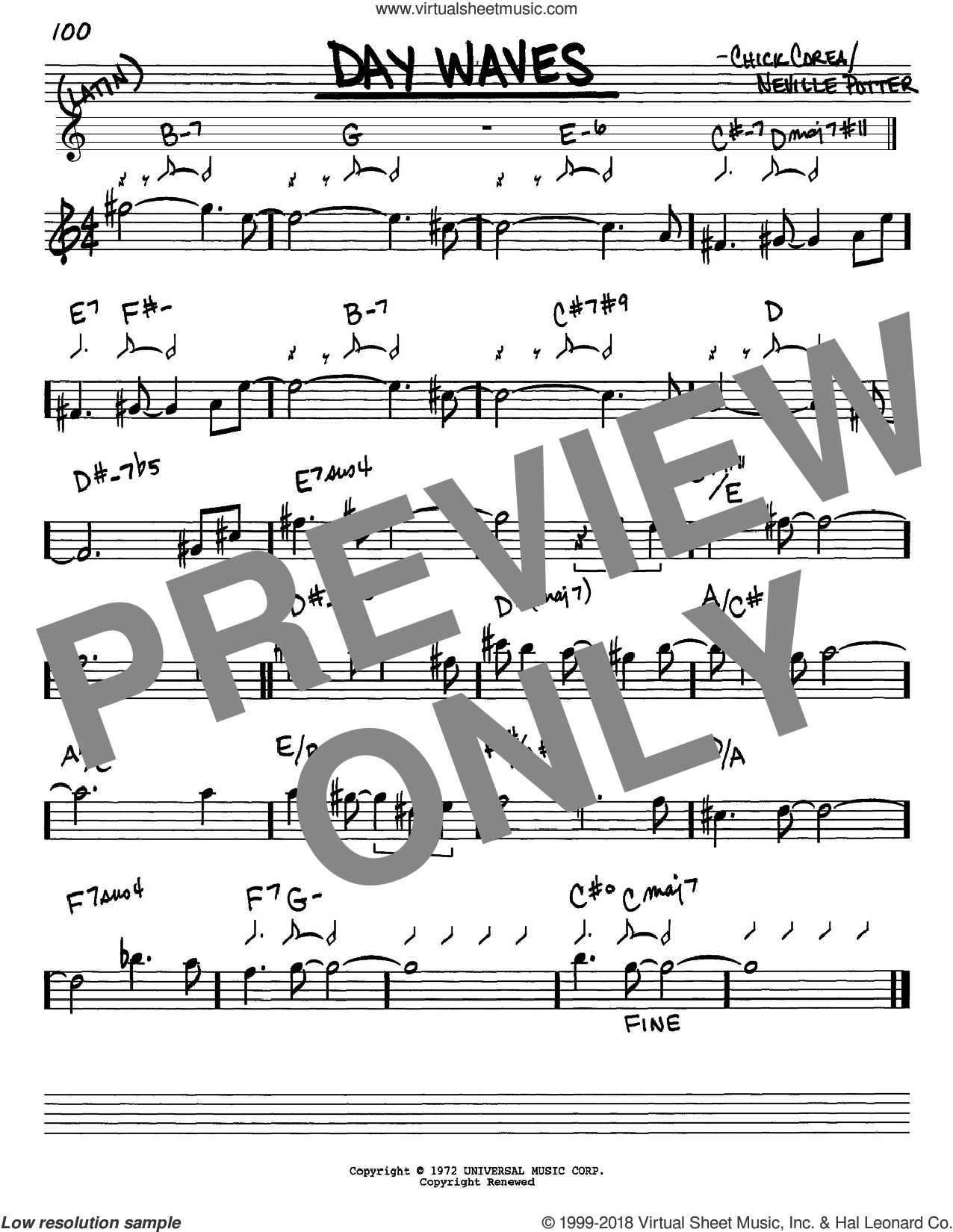 Day Waves sheet music for voice and other instruments (Eb) by Neville Potter and Chick Corea. Score Image Preview.
