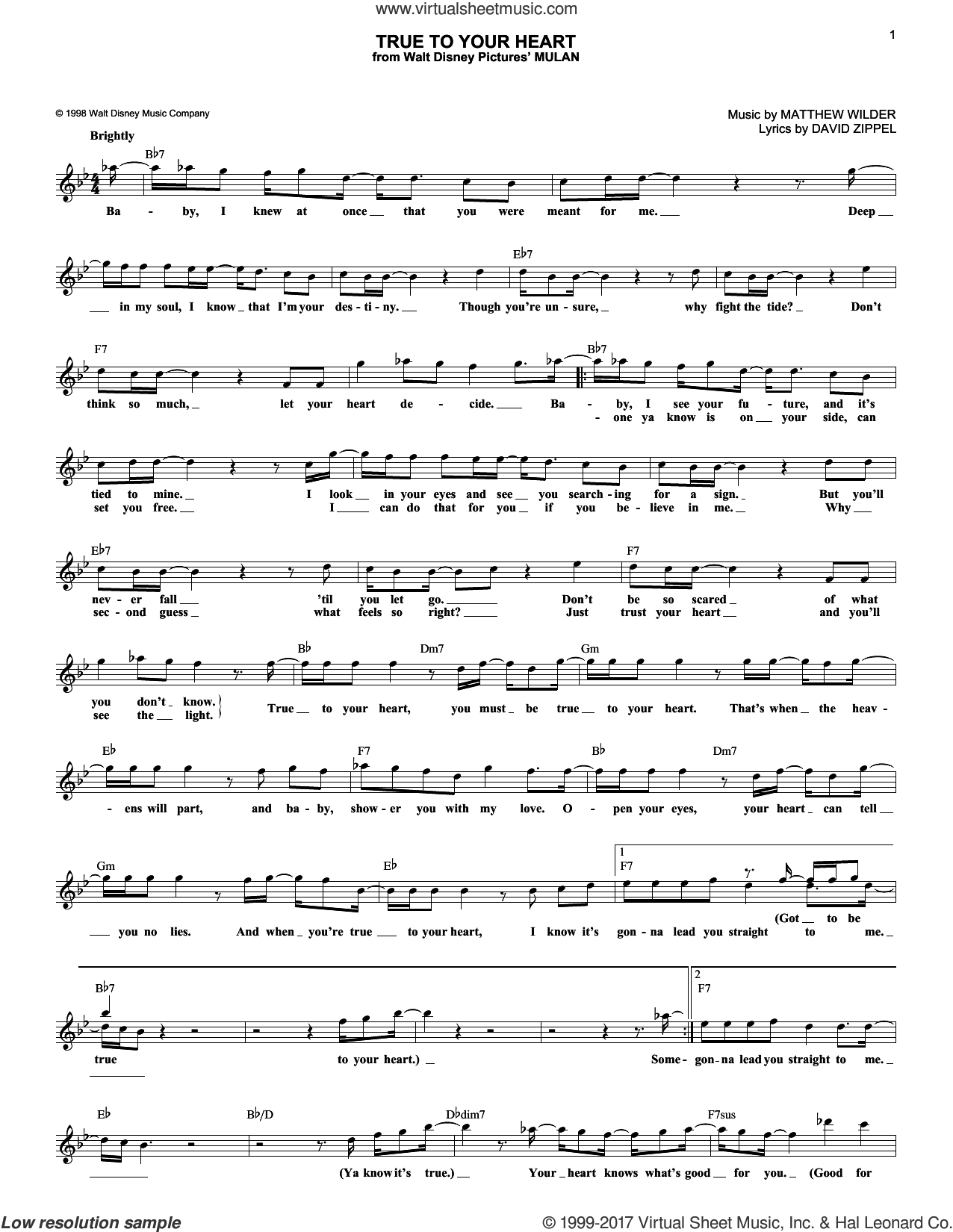 True To Your Heart sheet music for voice and other instruments (fake book) by 98 Degrees featuring Stevie Wonder, David Zippel and Matthew Wilder, intermediate skill level