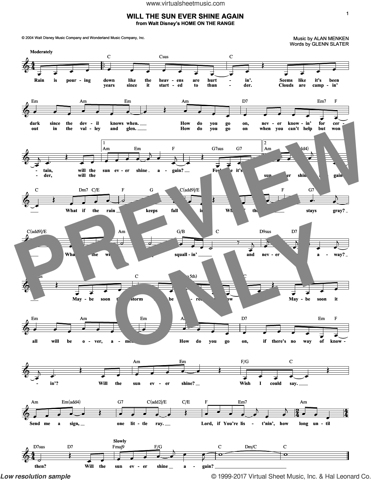 Will The Sun Ever Shine Again sheet music for voice and other instruments (fake book) by Alan Menken and Glenn Slater, intermediate. Score Image Preview.