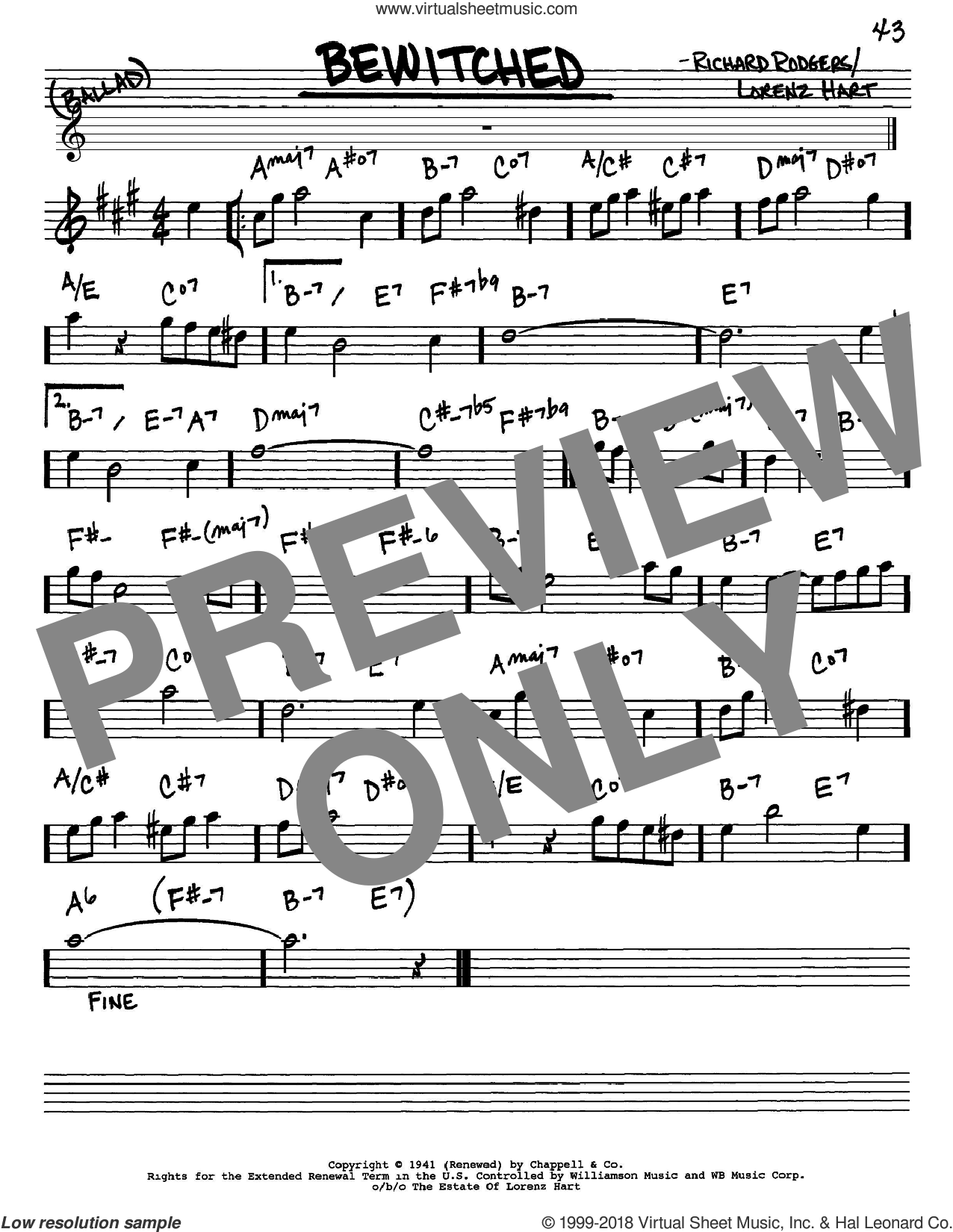 Bewitched sheet music for voice and other instruments (Eb) by Richard Rodgers