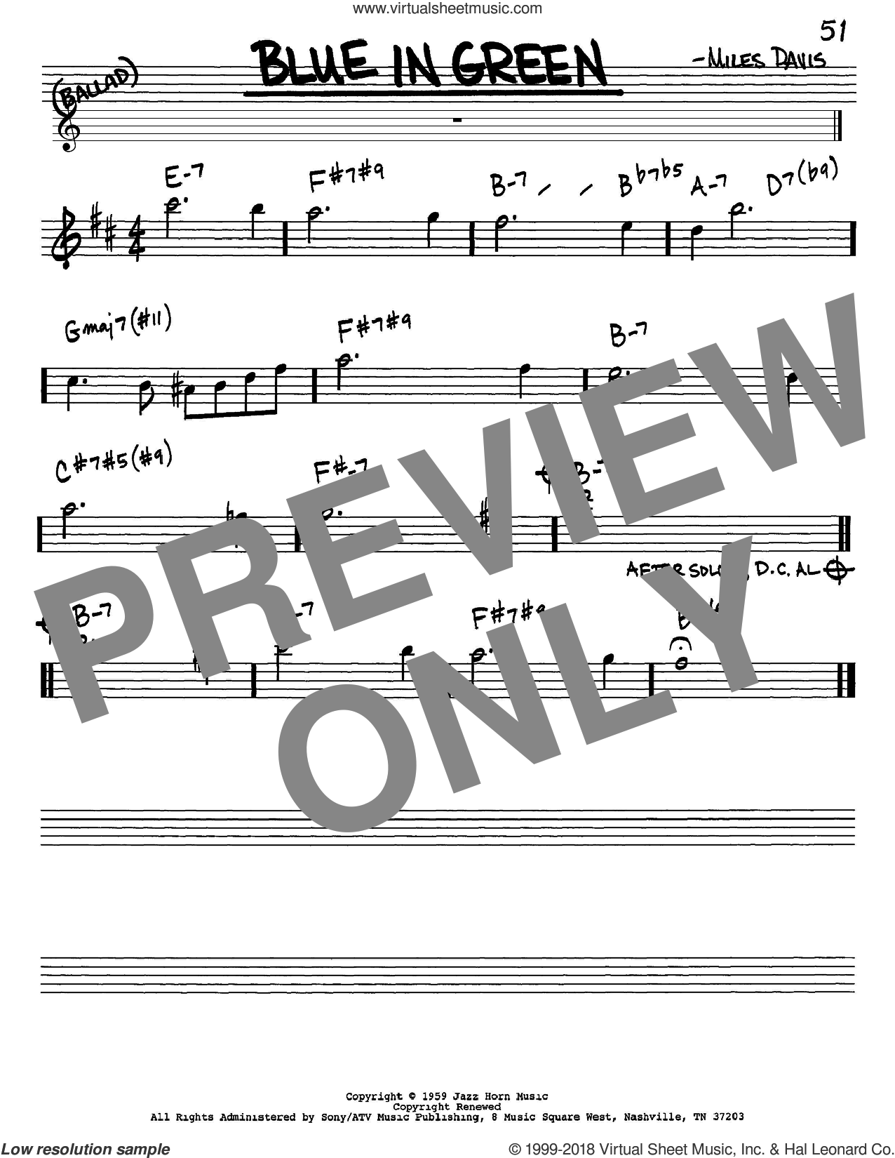 Blue In Green sheet music for voice and other instruments (in Eb) by Miles Davis, intermediate skill level