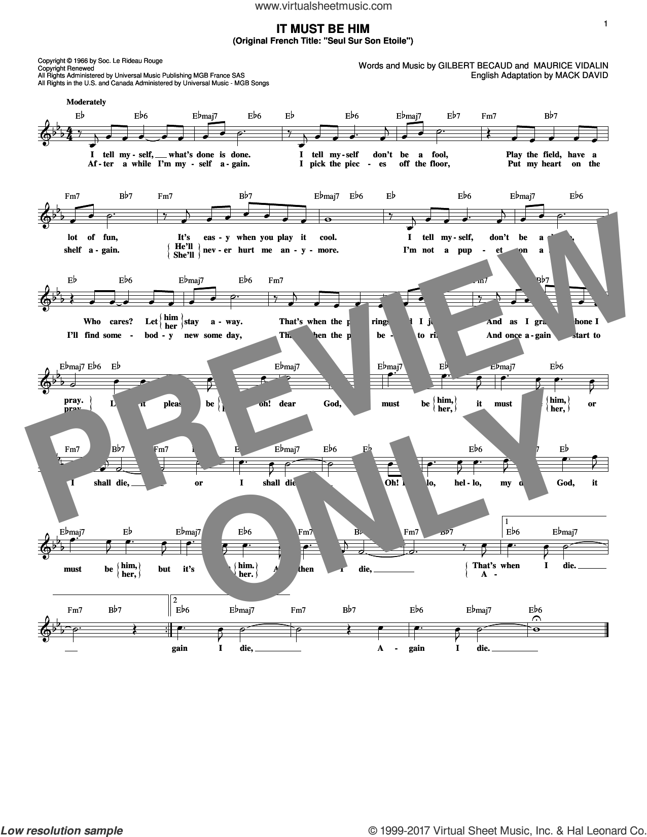 It Must Be Him sheet music for voice and other instruments (fake book) by Mack David, Vikki Carr, Gilbert Becaud and Maurice Vidalin, intermediate skill level