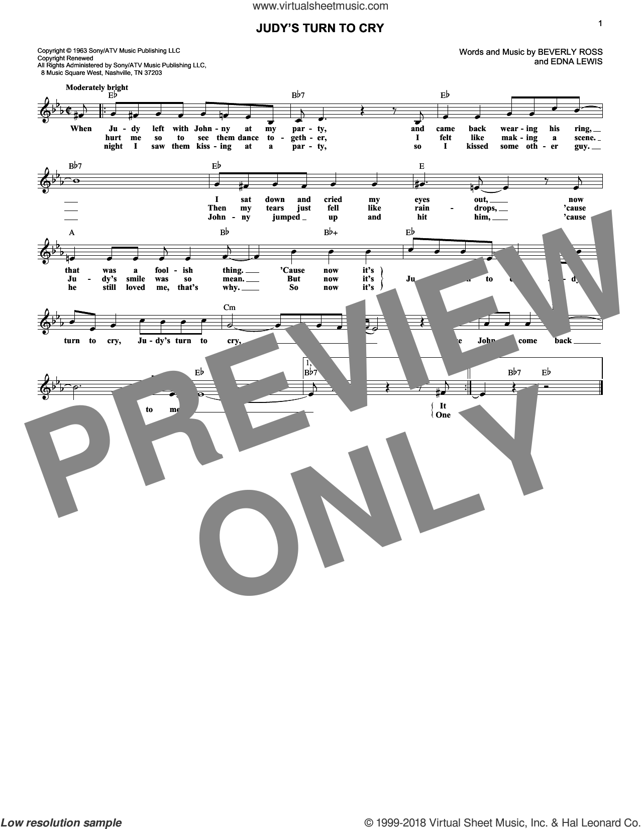Judy's Turn To Cry sheet music for voice and other instruments (fake book) by Lesley Gore, Beverly Ross and Edna Lewis, intermediate skill level
