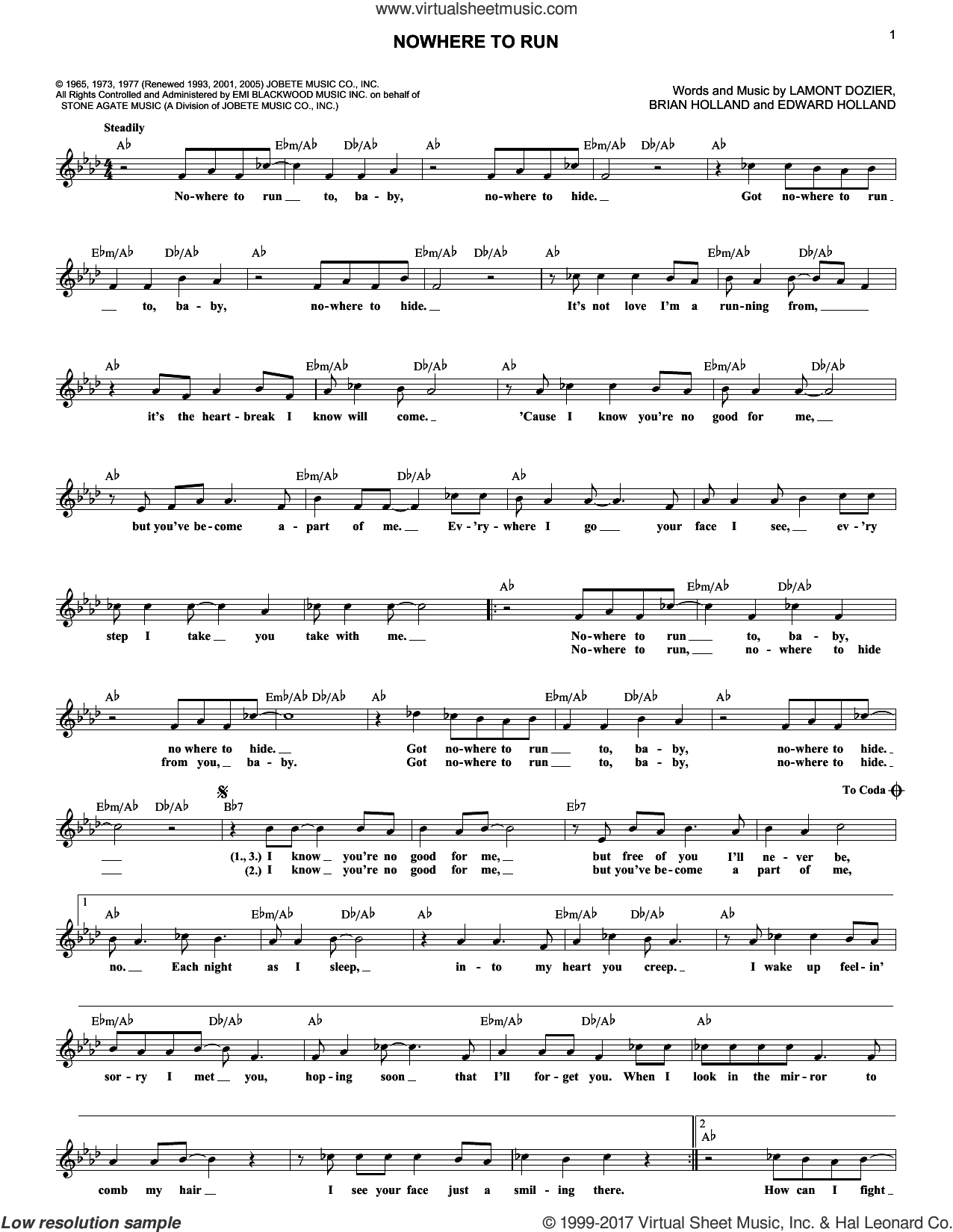 Nowhere To Run sheet music for voice and other instruments (fake book) by Martha & The Vandellas, The Isley Brothers, Brian Holland, Eddie Holland and Lamont Dozier, intermediate skill level