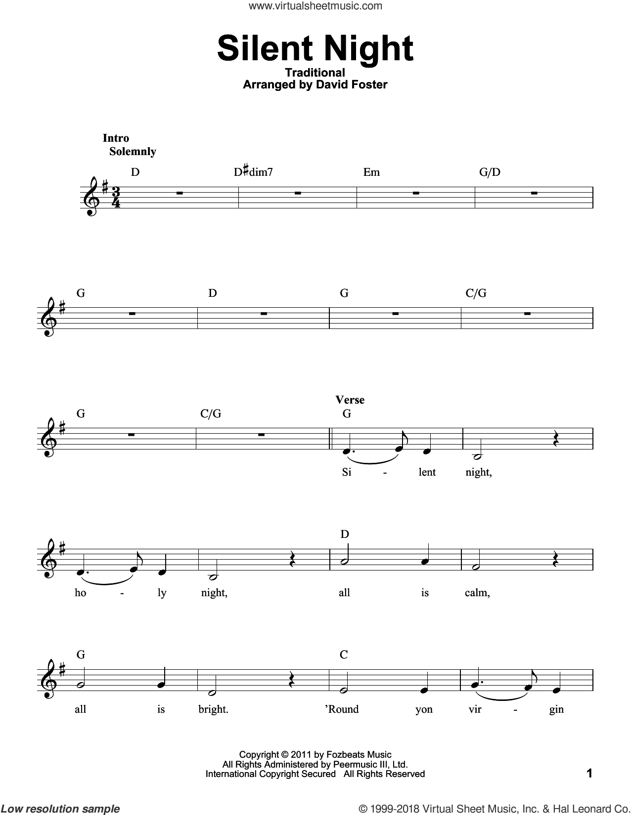 Silent Night sheet music for voice solo by Michael Buble, intermediate skill level