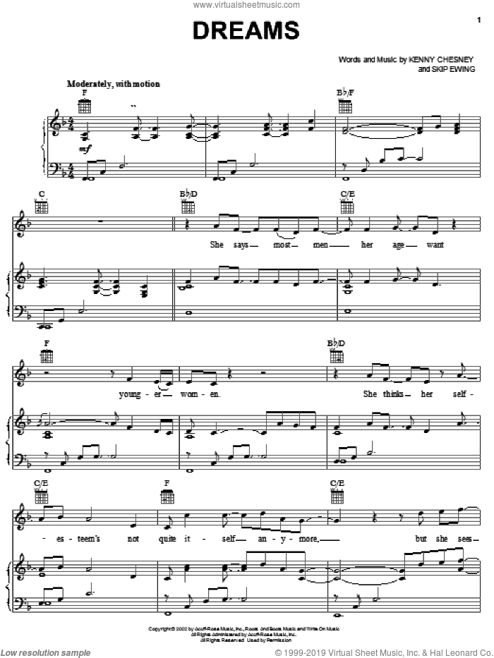 Dreams sheet music for voice, piano or guitar by Kenny Chesney and Skip Ewing, intermediate skill level