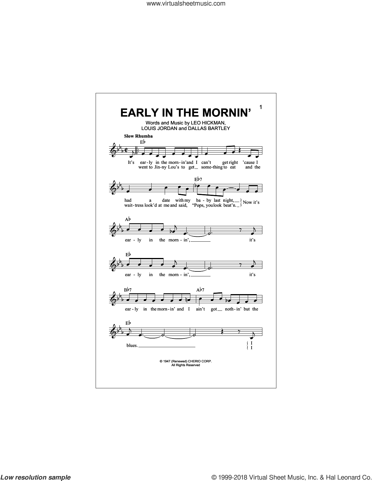 Early In The Mornin' sheet music for voice and other instruments (fake book) by Buddy Guy, Dallas Bartley, Leo Hickman and Louis Jordan, intermediate skill level
