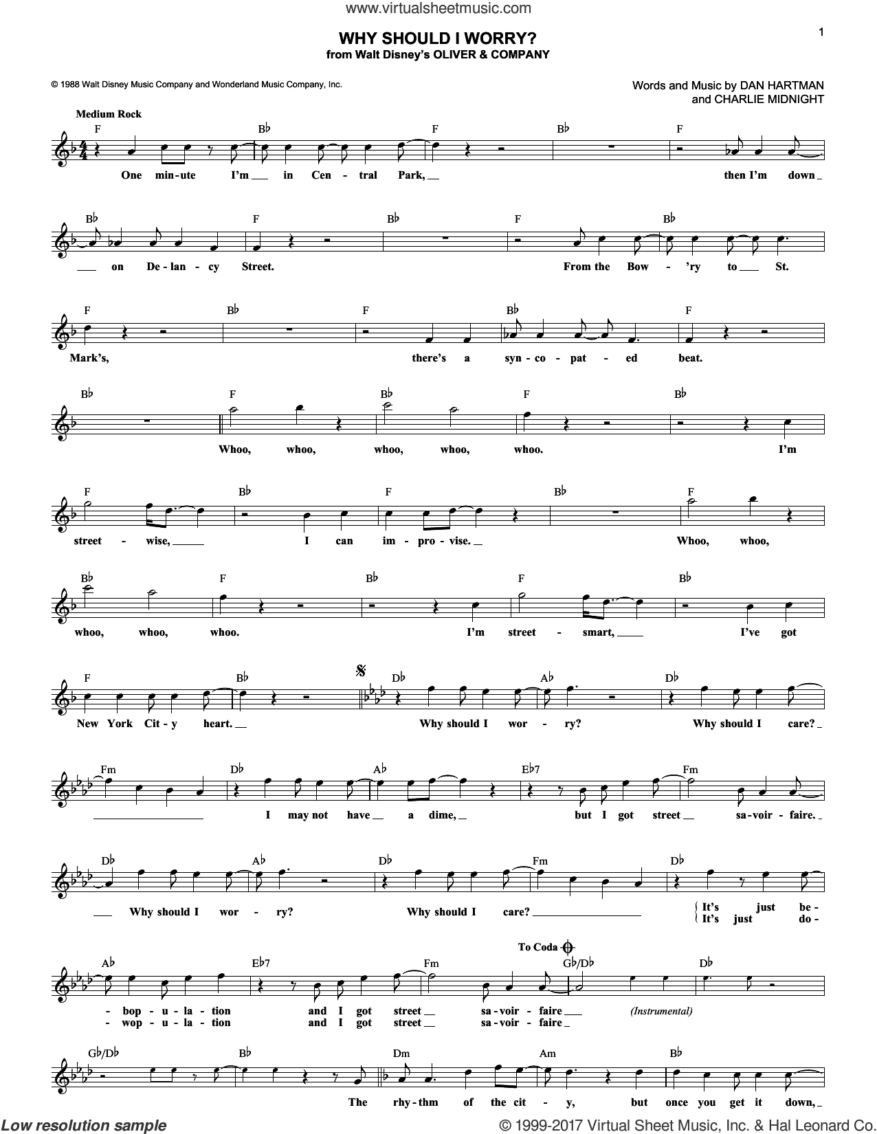 Why Should I Worry? sheet music for voice and other instruments (fake book) by Dan Hartman and Charlie Midnight, intermediate skill level