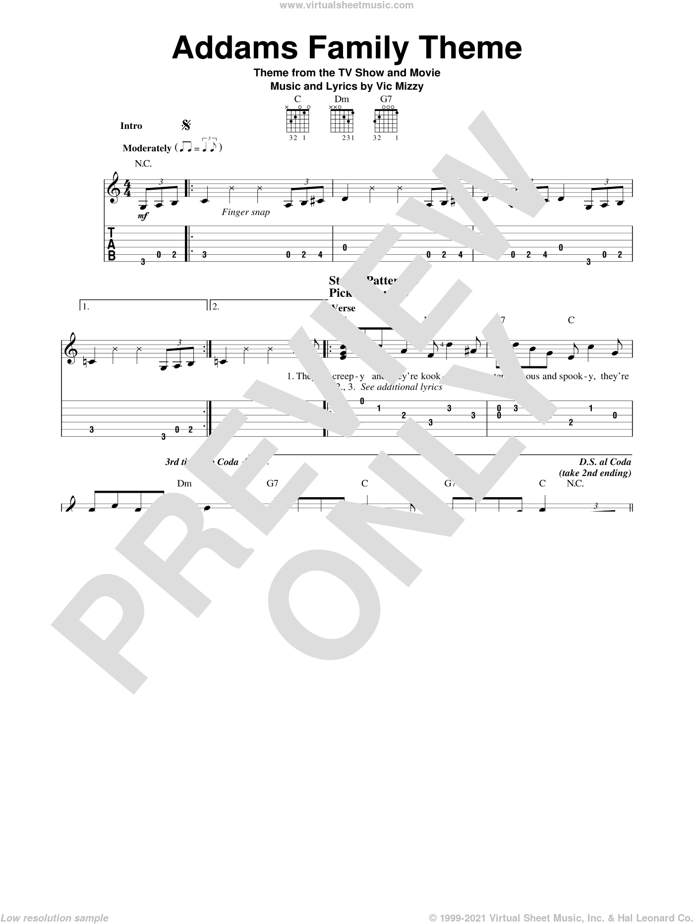 Addams Family Theme sheet music for guitar solo (easy tablature) by Vic Mizzy, easy guitar (easy tablature)