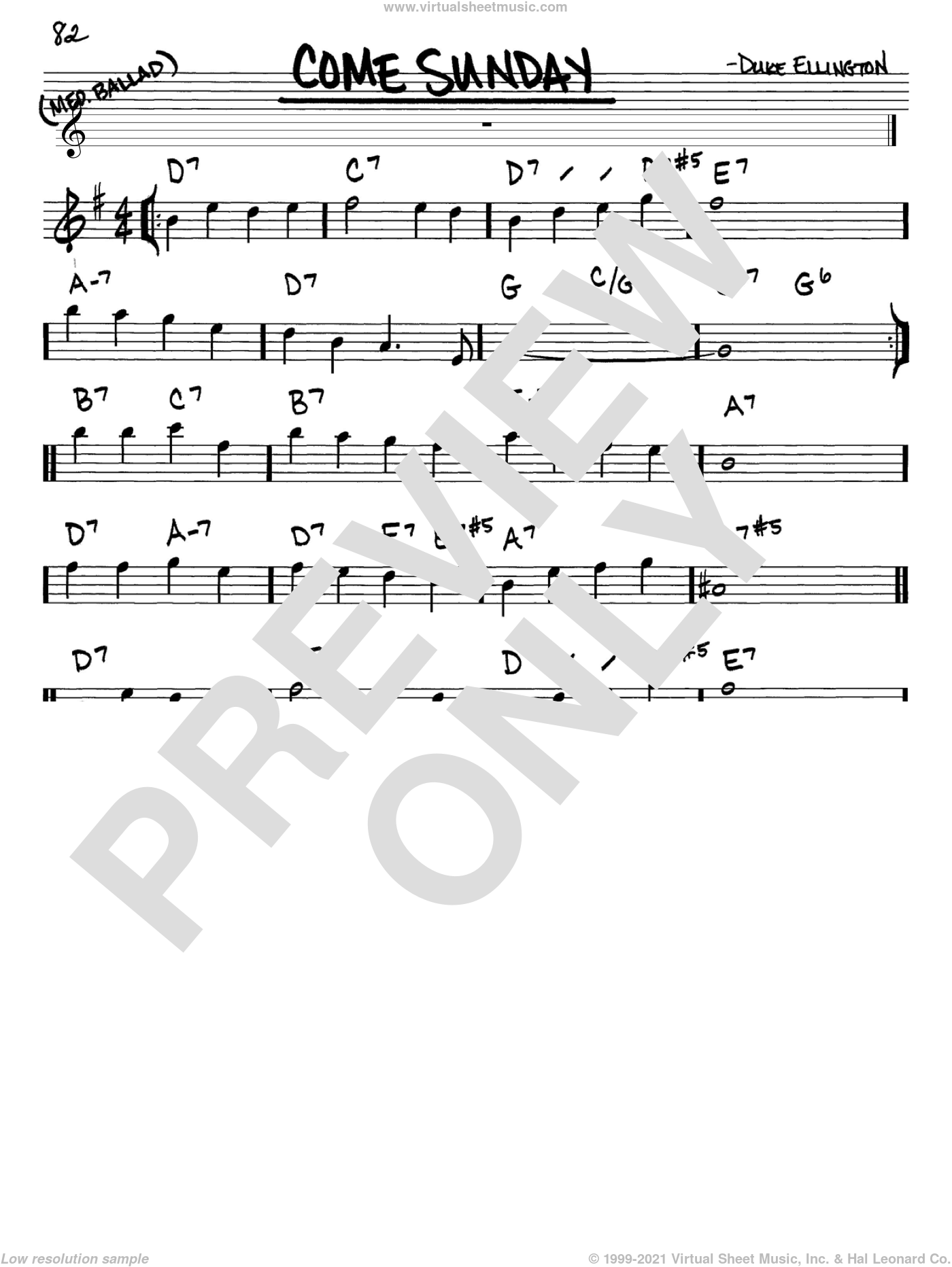 Come Sunday sheet music for voice and other instruments (in Eb) by Duke Ellington, intermediate skill level