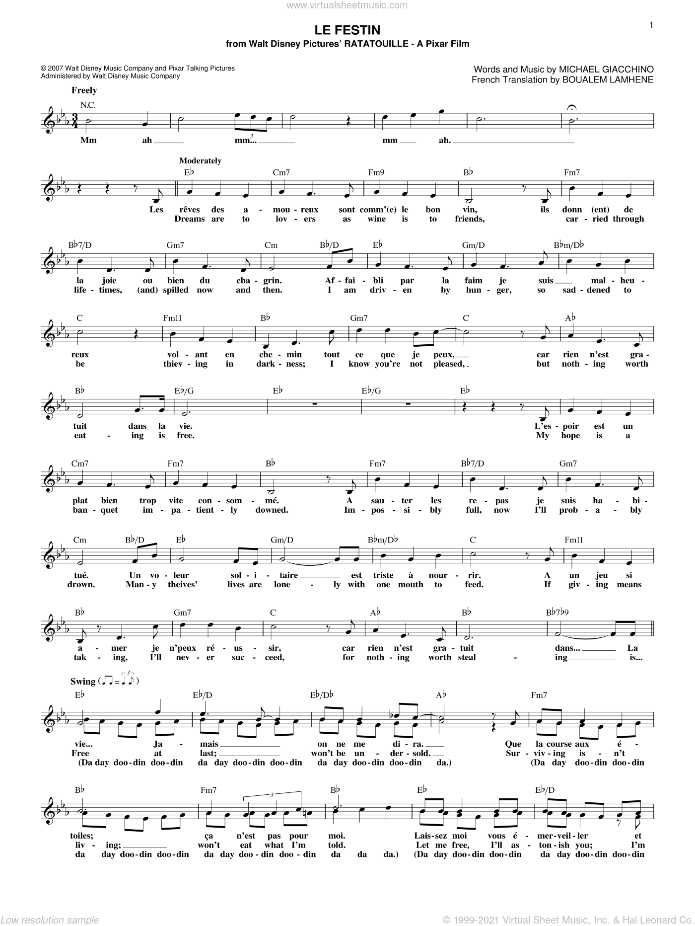 Le Festin sheet music for voice and other instruments (fake book) by Michael Giacchino and Boualem Lamhene, intermediate skill level