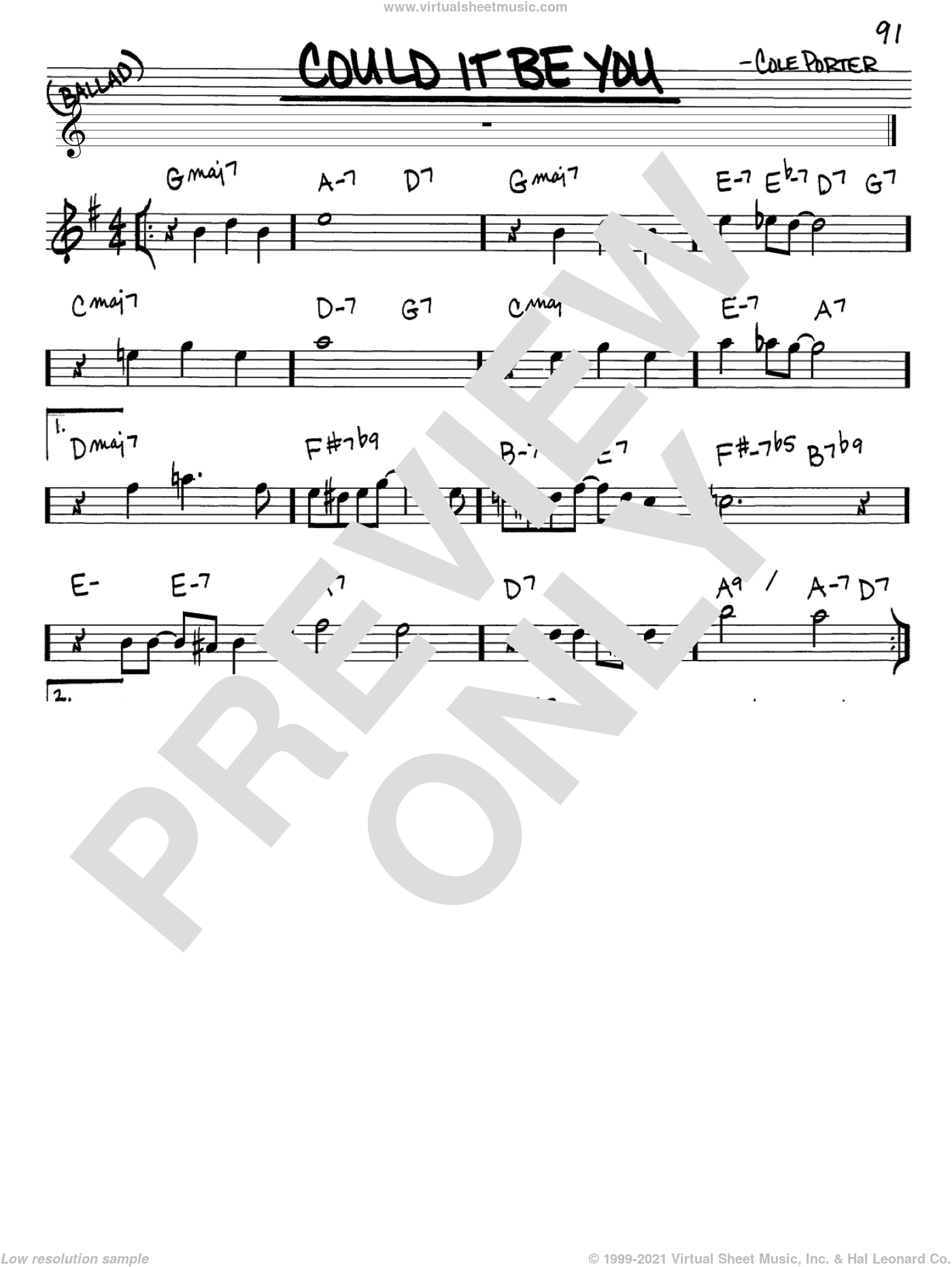 Could It Be You sheet music for voice and other instruments (Eb) by Cole Porter. Score Image Preview.