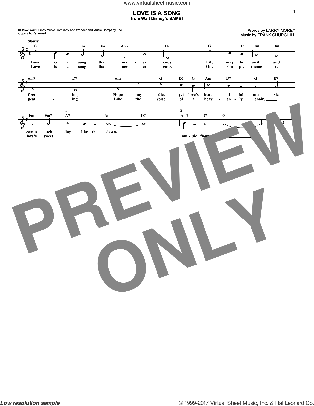 Love Is A Song sheet music for voice and other instruments (fake book) by Larry Morey and Frank Churchill, intermediate. Score Image Preview.