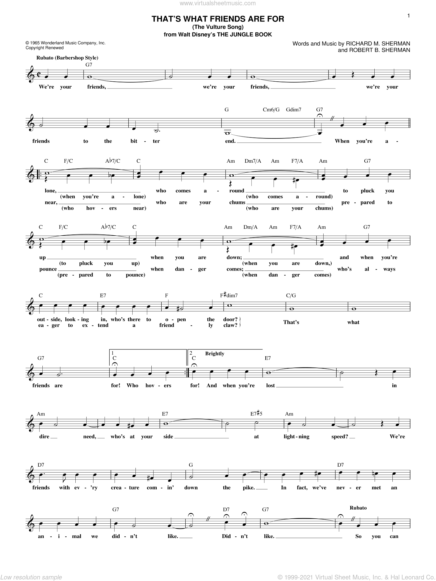 That's What Friends Are For (The Vulture Song) sheet music for voice and other instruments (fake book) by Richard M. Sherman and Robert B. Sherman, intermediate skill level