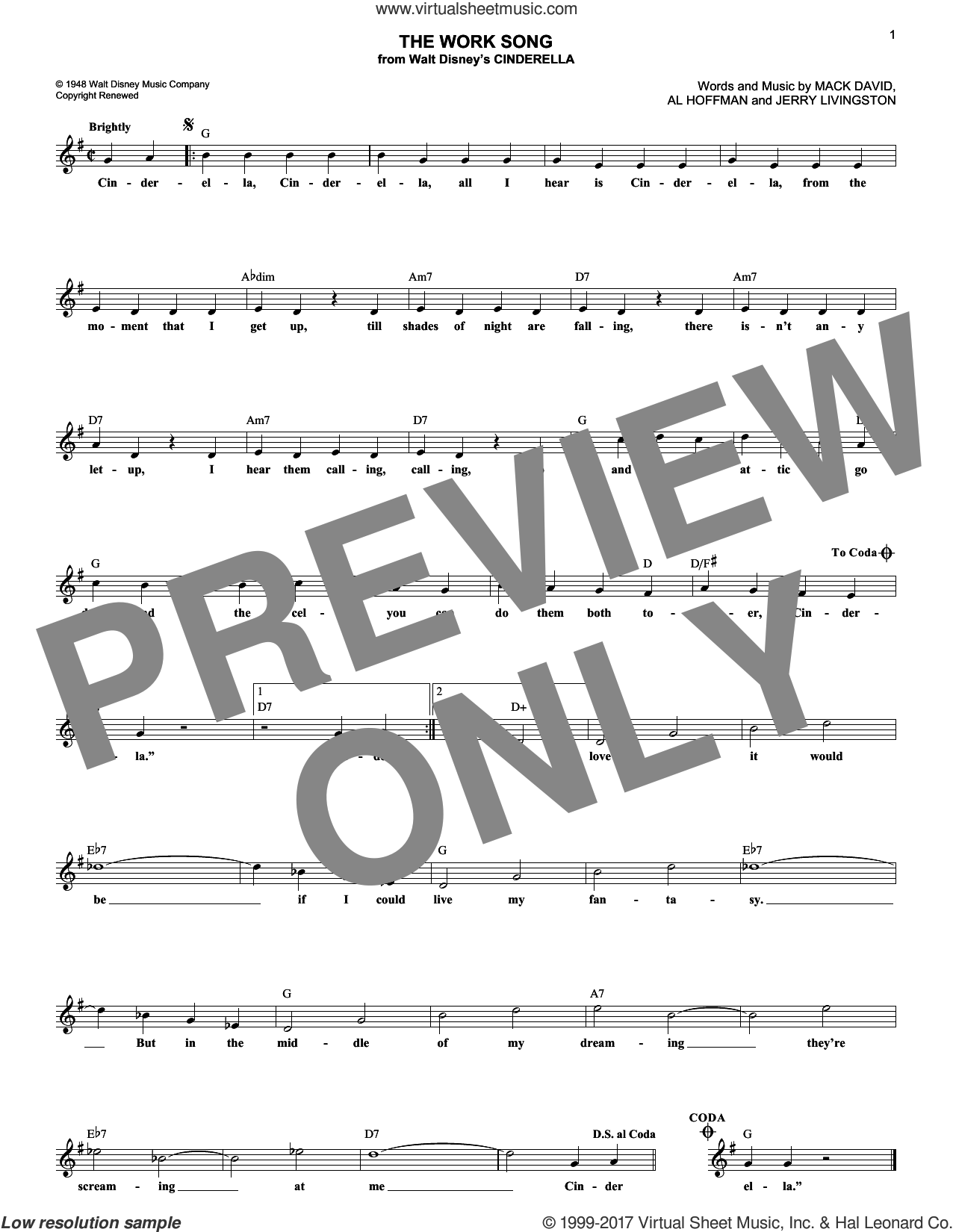 The Work Song sheet music for voice and other instruments (fake book) by Al Hoffman, Jerry Livingston and Mack David, intermediate skill level