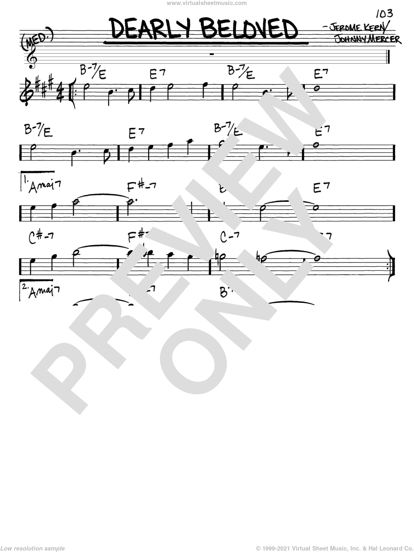 Dearly Beloved sheet music for voice and other instruments (Eb) by Jerome Kern and Johnny Mercer, intermediate voice. Score Image Preview.