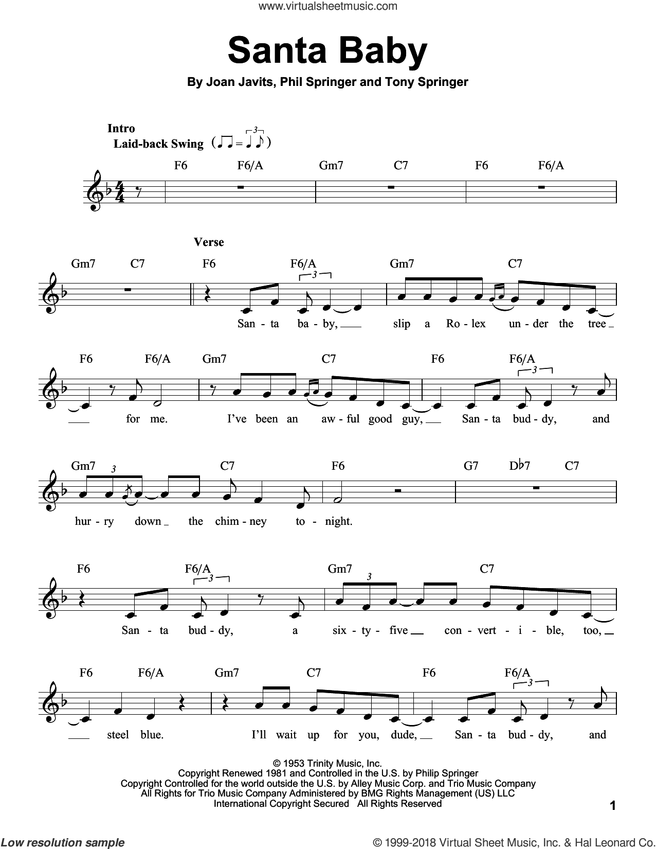 Santa Baby sheet music for voice solo by Joan Javits, Michael Buble, Phil Springer and Tony Springer, intermediate skill level