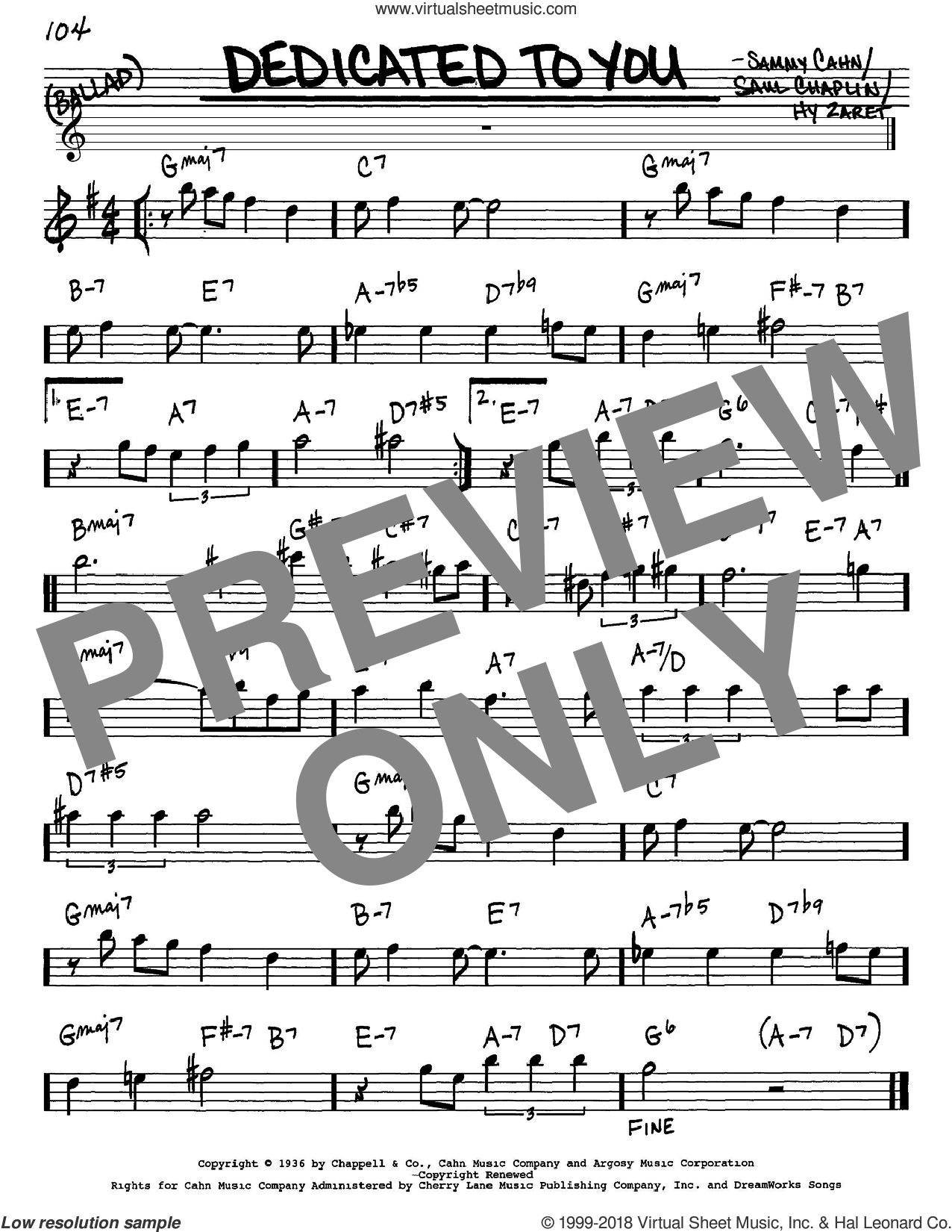 Dedicated To You sheet music for voice and other instruments (in Eb) by Sammy Cahn, Hy Zaret and Saul Chaplin, intermediate skill level