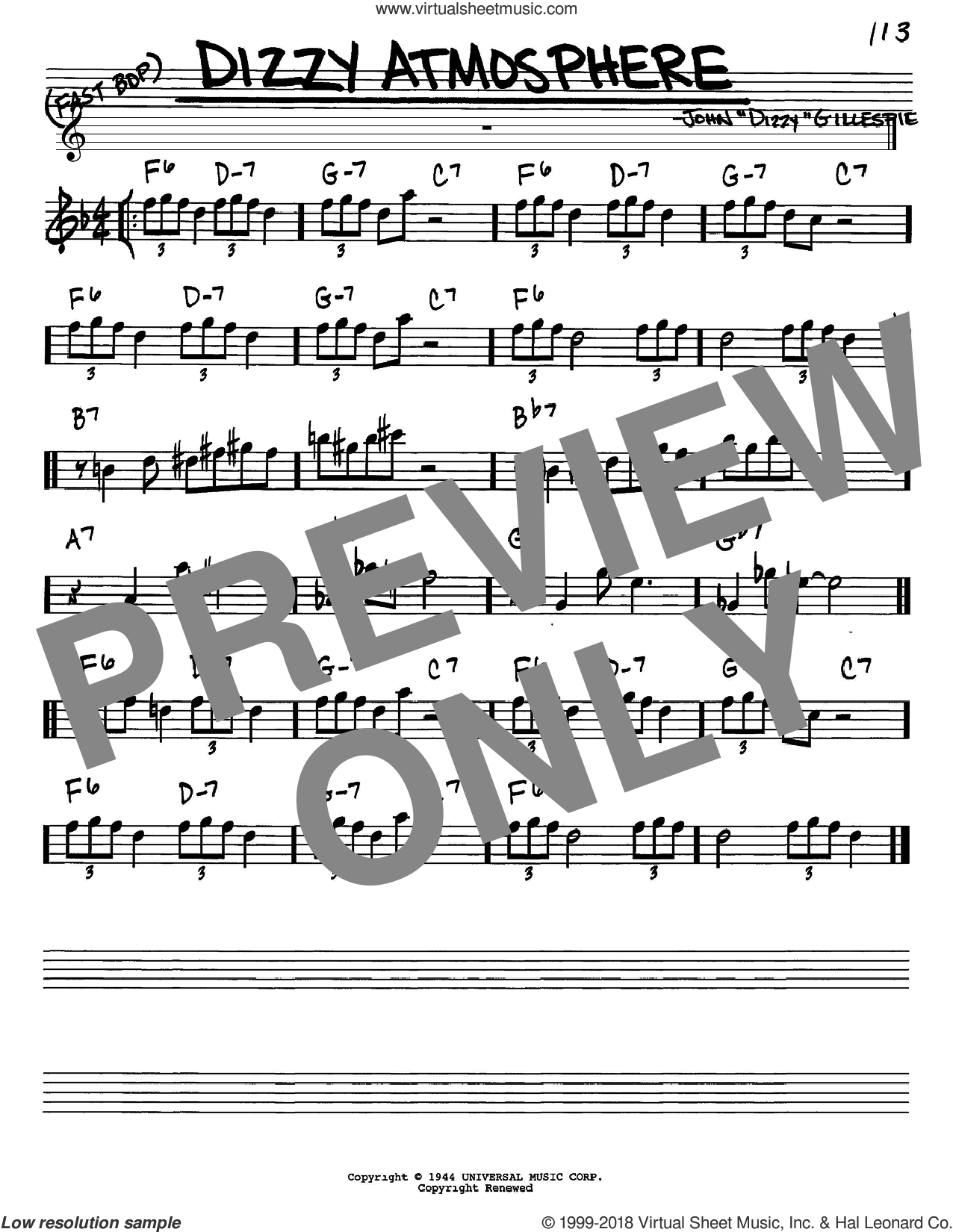 Dizzy Atmosphere sheet music for voice and other instruments (in Eb) by Dizzy Gillespie and Charlie Parker, intermediate. Score Image Preview.