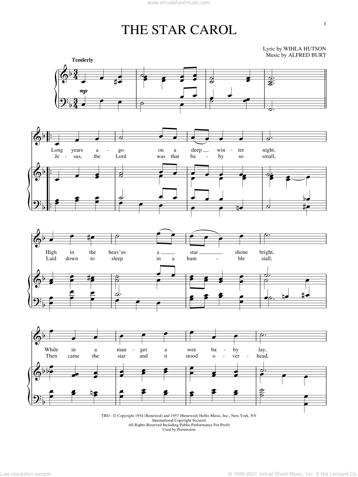 The Star Carol sheet music for voice and piano (High Voice) by Alfred Burt and Wihla Hutson, intermediate