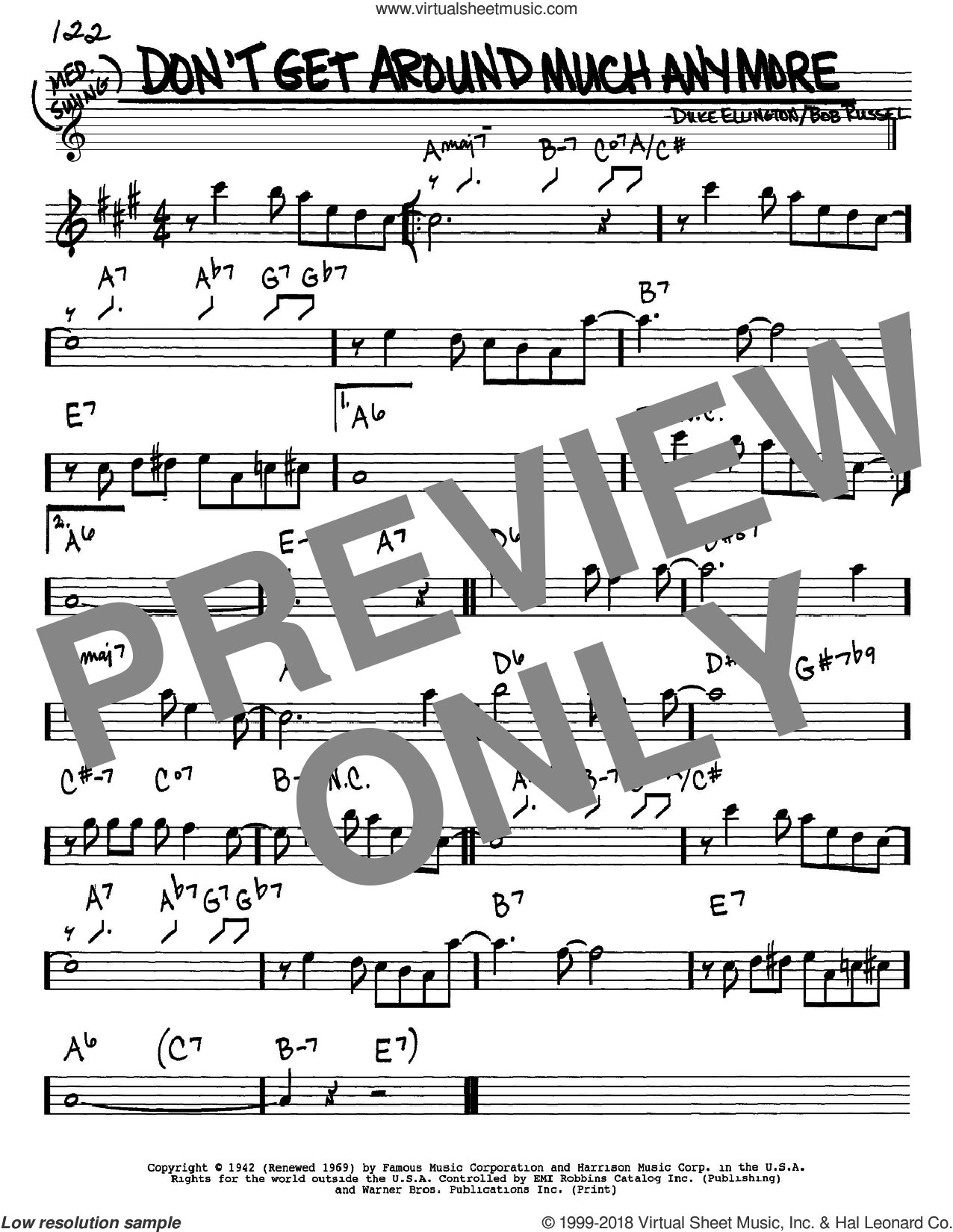 Don't Get Around Much Anymore sheet music for voice and other instruments (Eb) by Bob Russell and Duke Ellington. Score Image Preview.