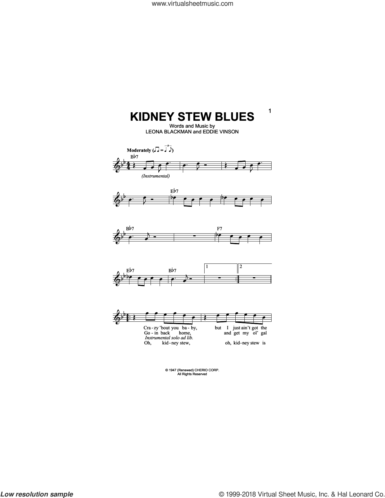 Kidney Stew Blues sheet music for voice and other instruments (fake book) by Eddie Vinson and Leona Blackman, intermediate skill level