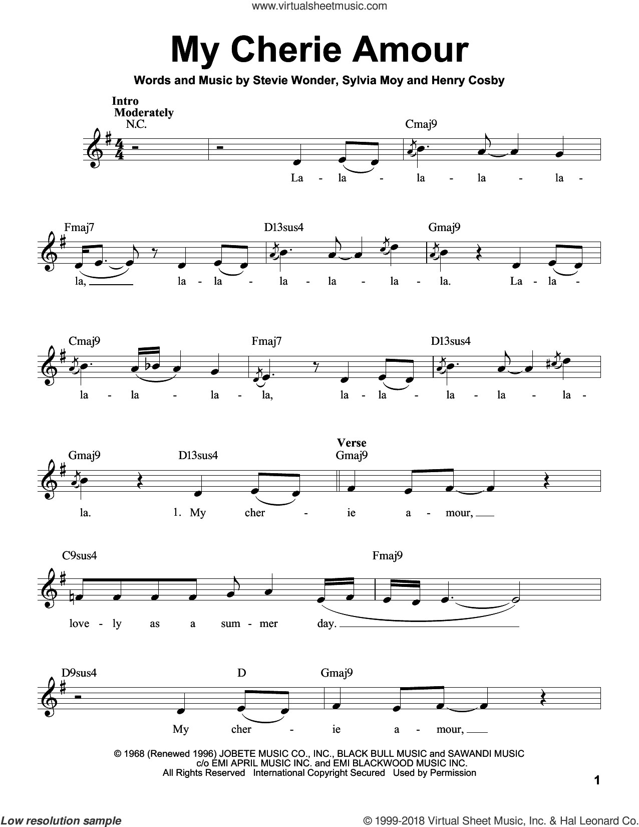 My Cherie Amour sheet music for voice solo by Stevie Wonder, Henry Cosby and Sylvia Moy, intermediate skill level