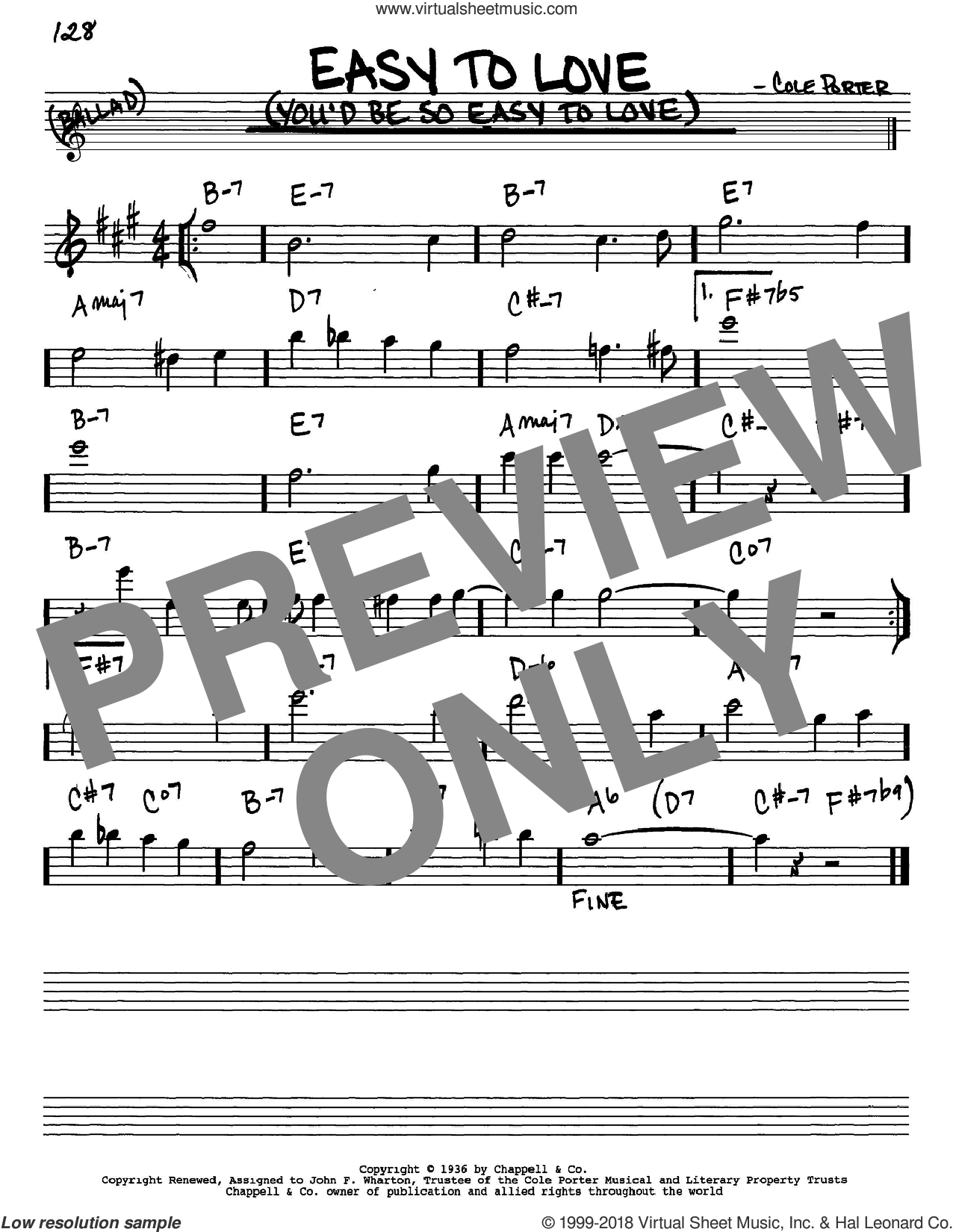 Easy To Love (You'd Be So Easy To Love) sheet music for voice and other instruments (Eb) by Cole Porter, intermediate voice. Score Image Preview.