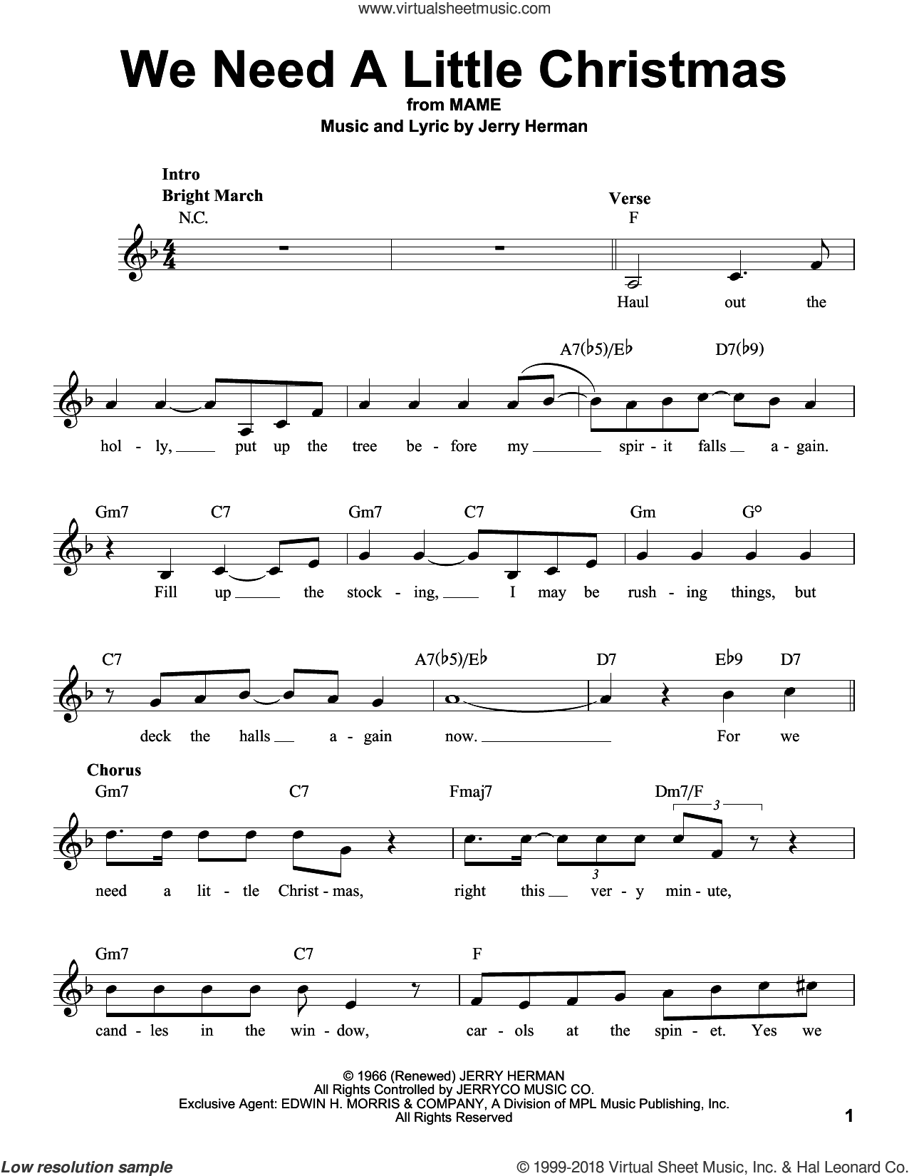 We Need A Little Christmas sheet music for voice solo by Kimberley Locke and Jerry Herman, intermediate skill level