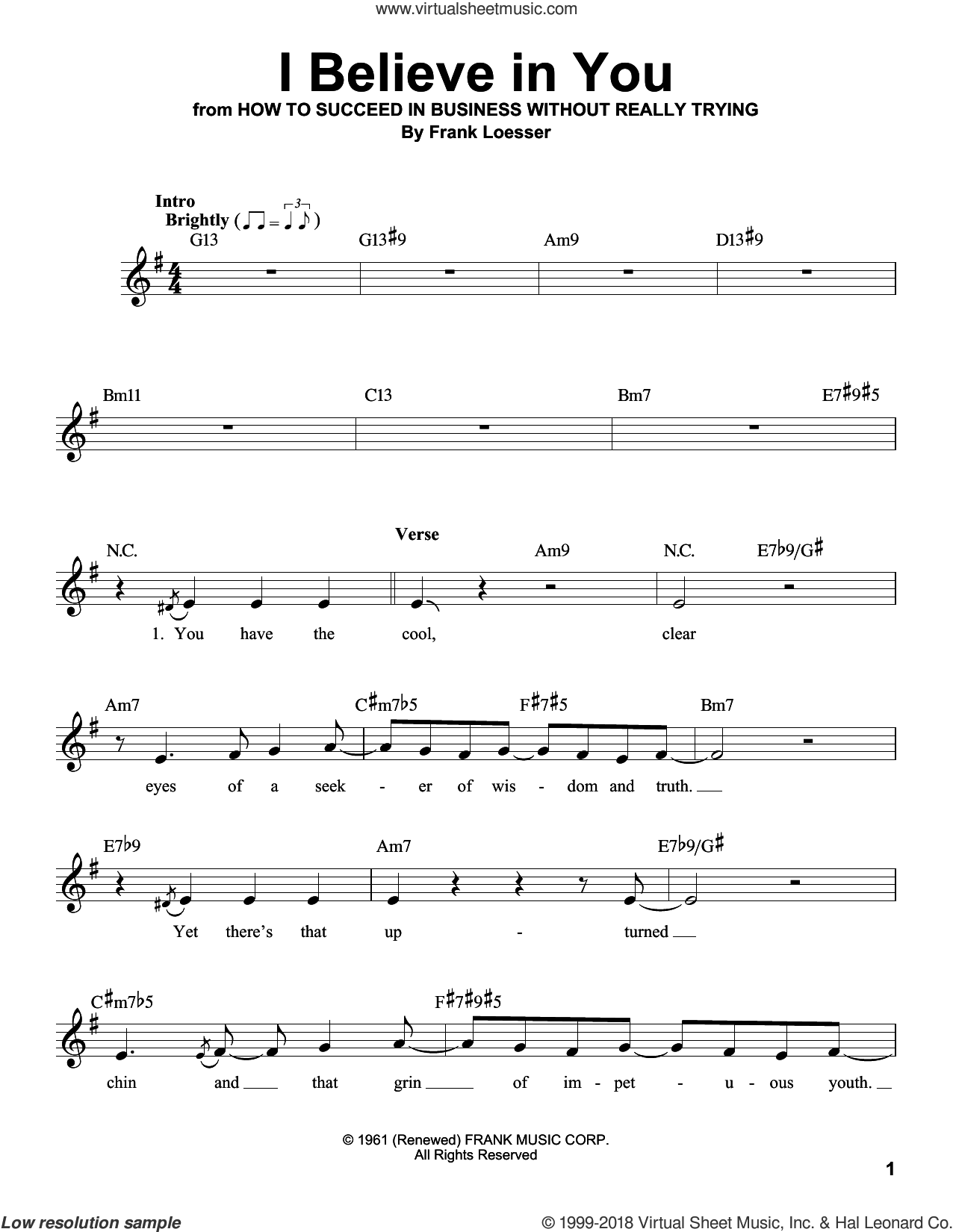 I Believe In You sheet music for voice solo by Frank Loesser, intermediate skill level