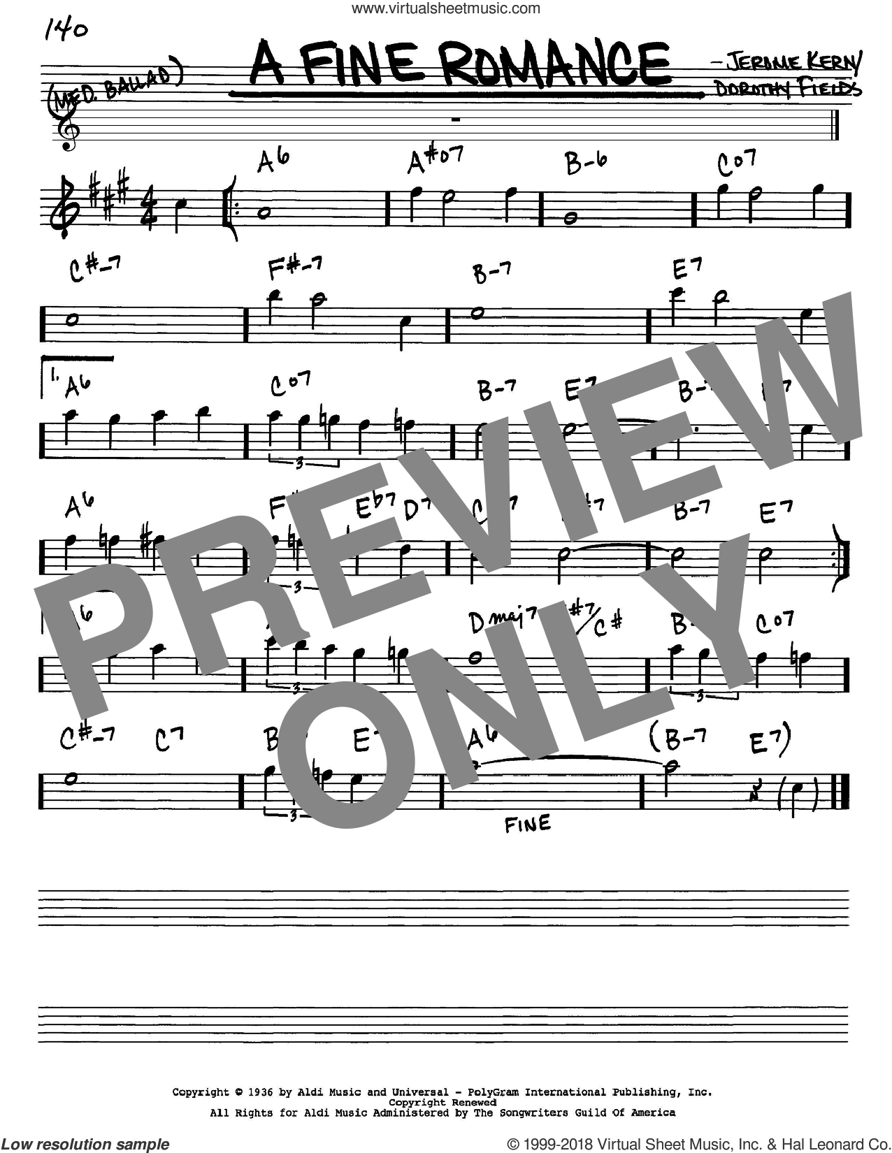 A Fine Romance sheet music for voice and other instruments (Eb) by Dorothy Fields and Jerome Kern. Score Image Preview.