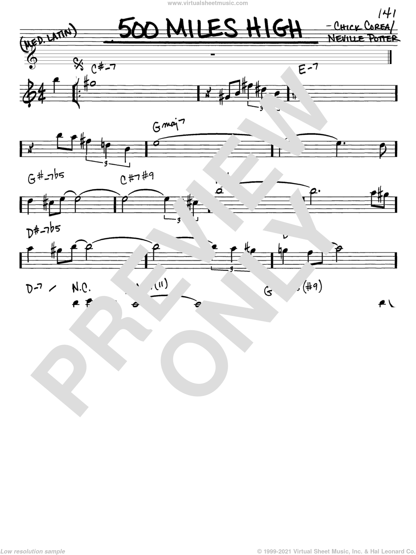 500 Miles High sheet music for voice and other instruments (Eb) by Neville Potter and Chick Corea. Score Image Preview.