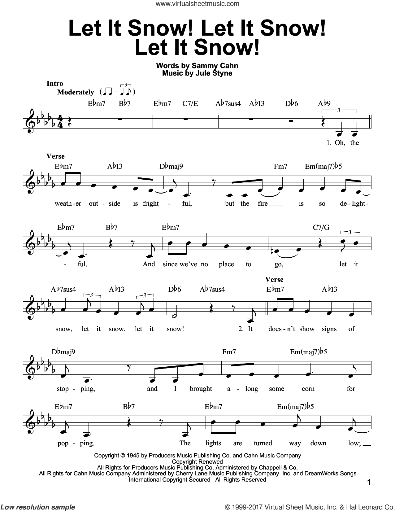 Let It Snow! Let It Snow! Let It Snow! sheet music for voice solo by Sammy Cahn and Jule Styne, intermediate skill level