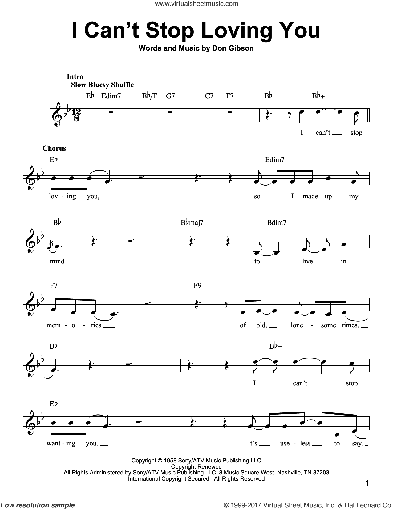 I Can't Stop Loving You sheet music for voice solo by Don Gibson, Conway Twitty, Elvis Presley, Kitty Wells and Ray Charles, intermediate skill level